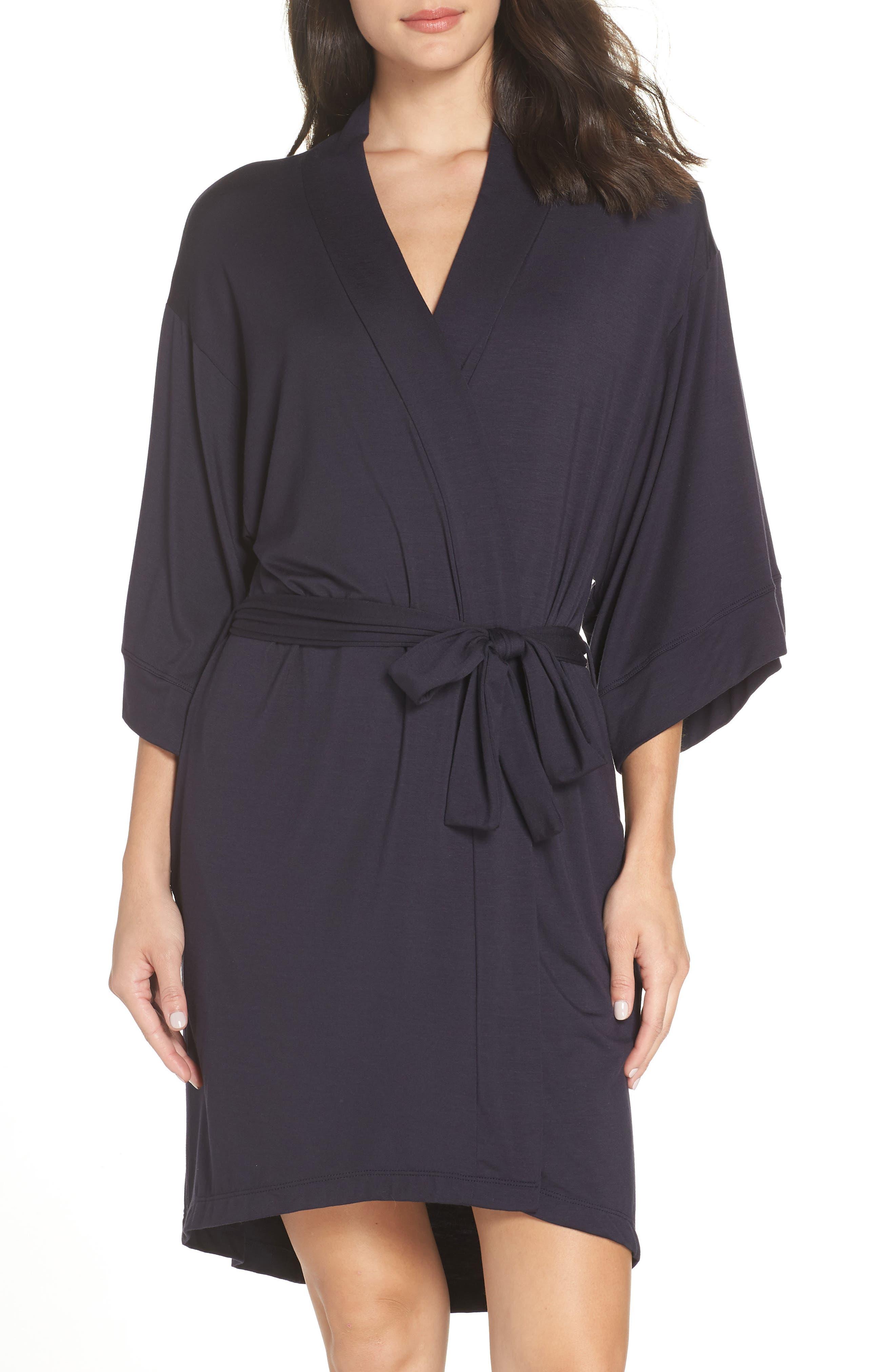 MAISON DU SOIR Florence Short Robe in Dark Navy