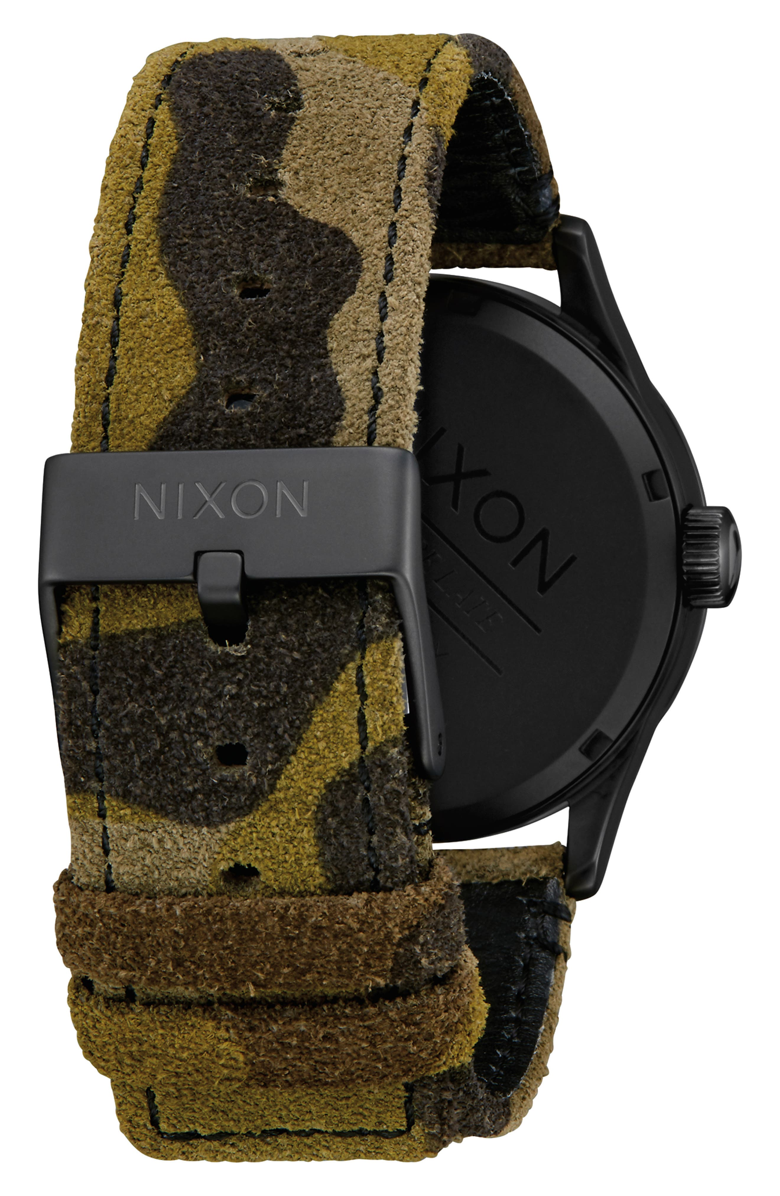 The Sentry Leather Strap Watch, 42mm,                             Alternate thumbnail 2, color,                             CAMO/ BLACK
