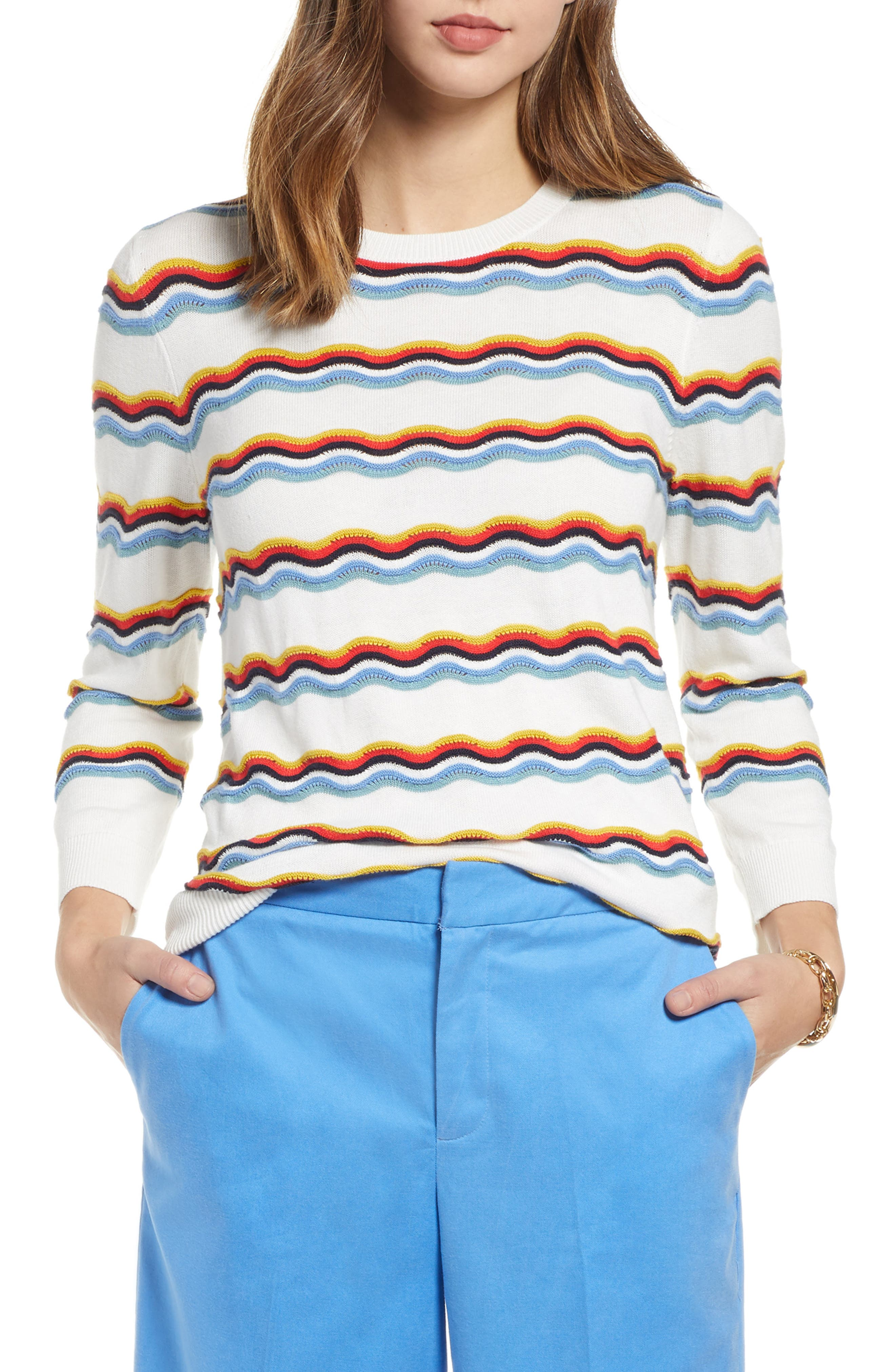 1901 Rickrack Sweater, Main, color, IVORY CLOUD WAVE STRIPE