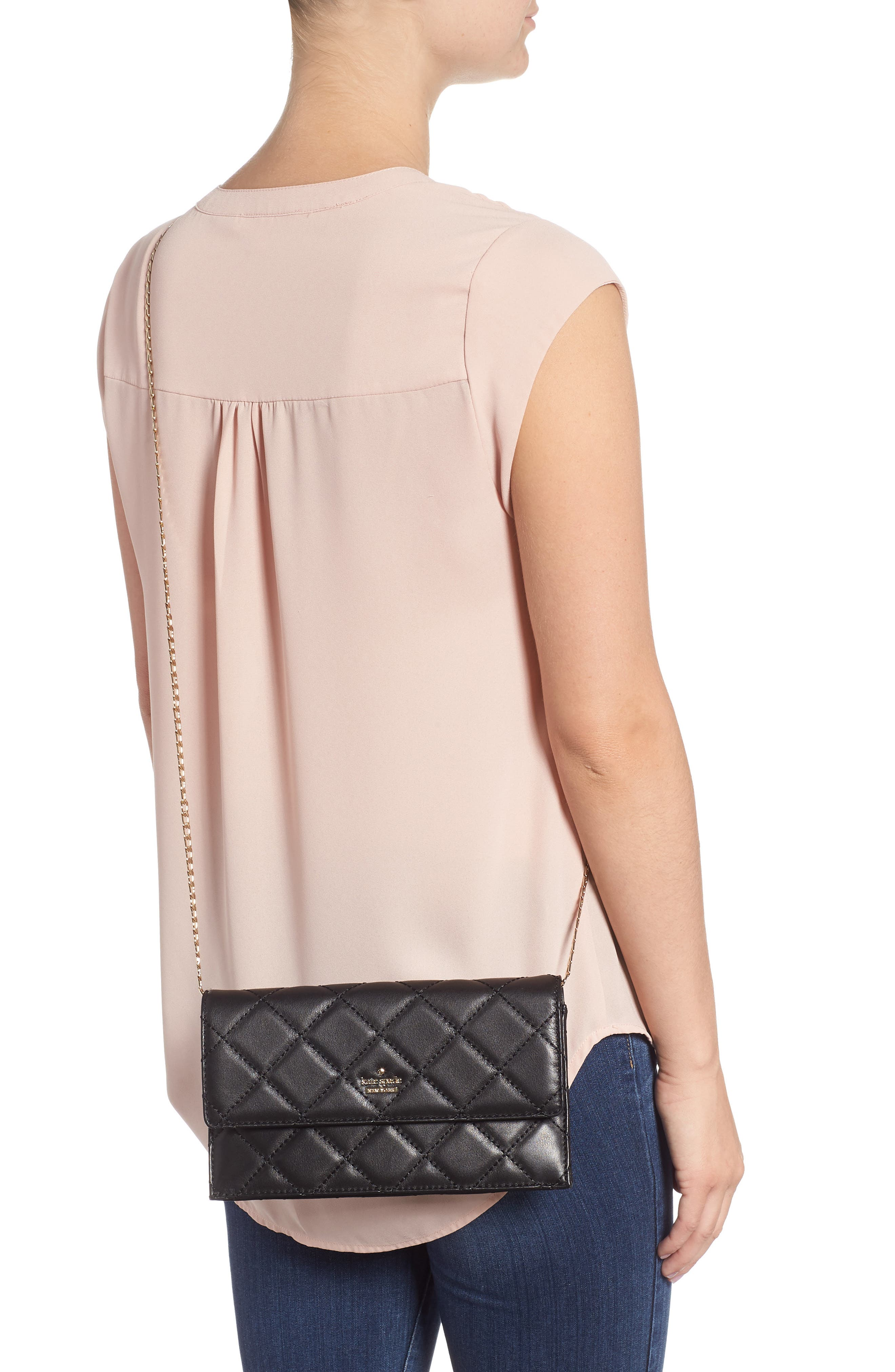 emerson place - brennan quilted leather convertible clutch & card holder,                             Alternate thumbnail 3, color,