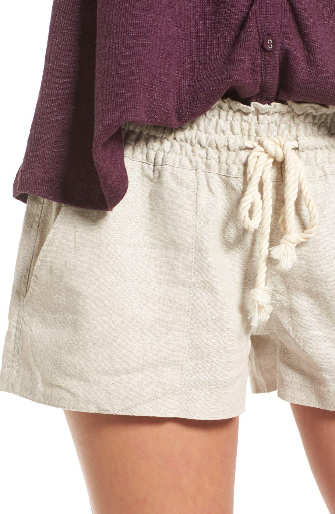 'Oceanside' Linen Blend Shorts,                             Alternate thumbnail 4, color,                             STONE
