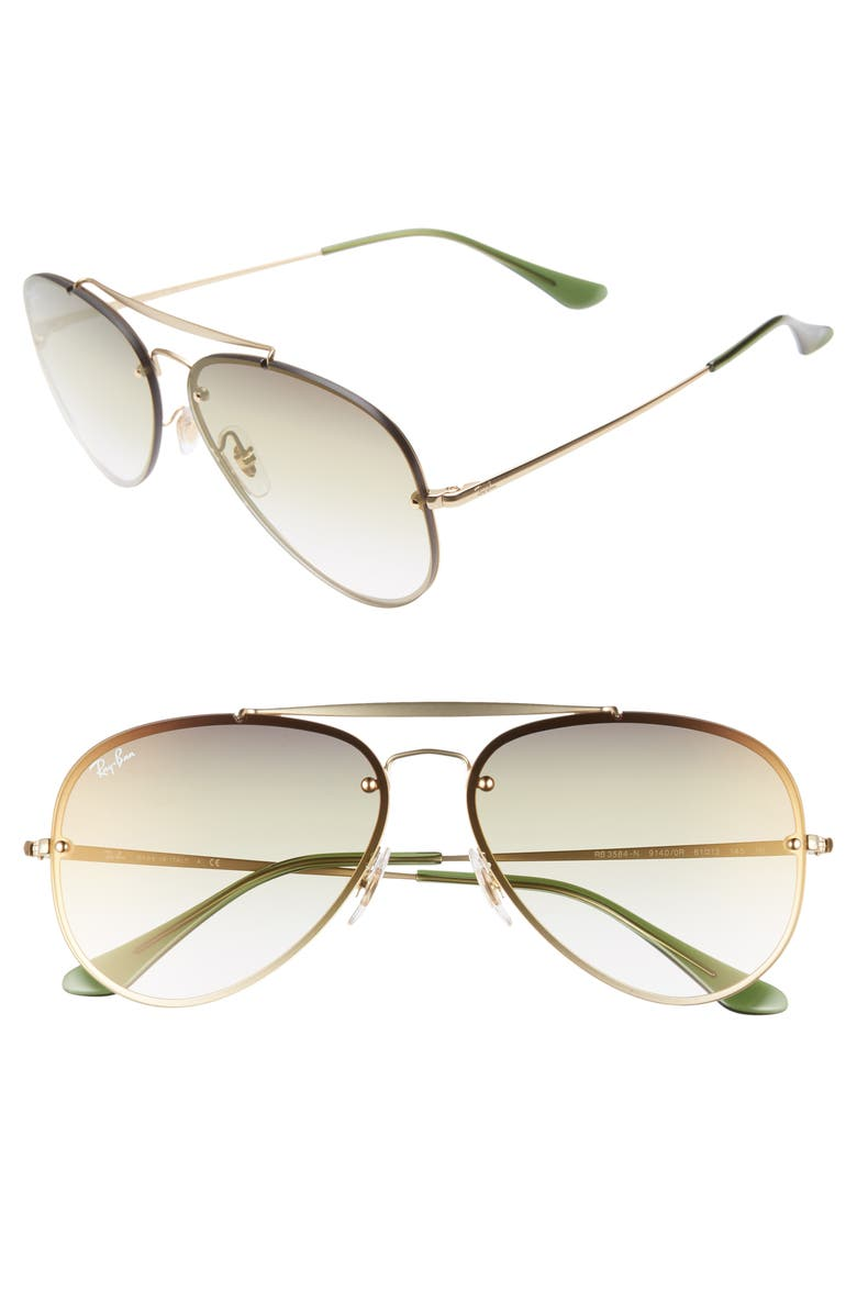 Ray Ban Sunglasses 61MM GRADIENT LENS AVIATOR SUNGLASSES - GOLD/ TRAN GREEN GRADIENT