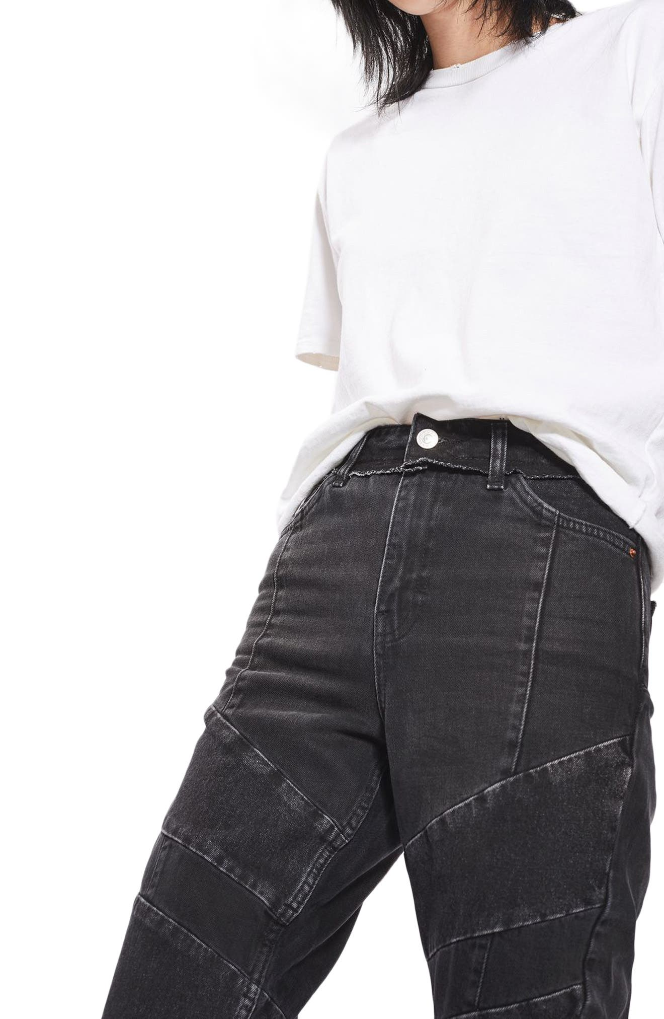 TOPSHOP,                             Panel Mom Jeans,                             Alternate thumbnail 3, color,                             001