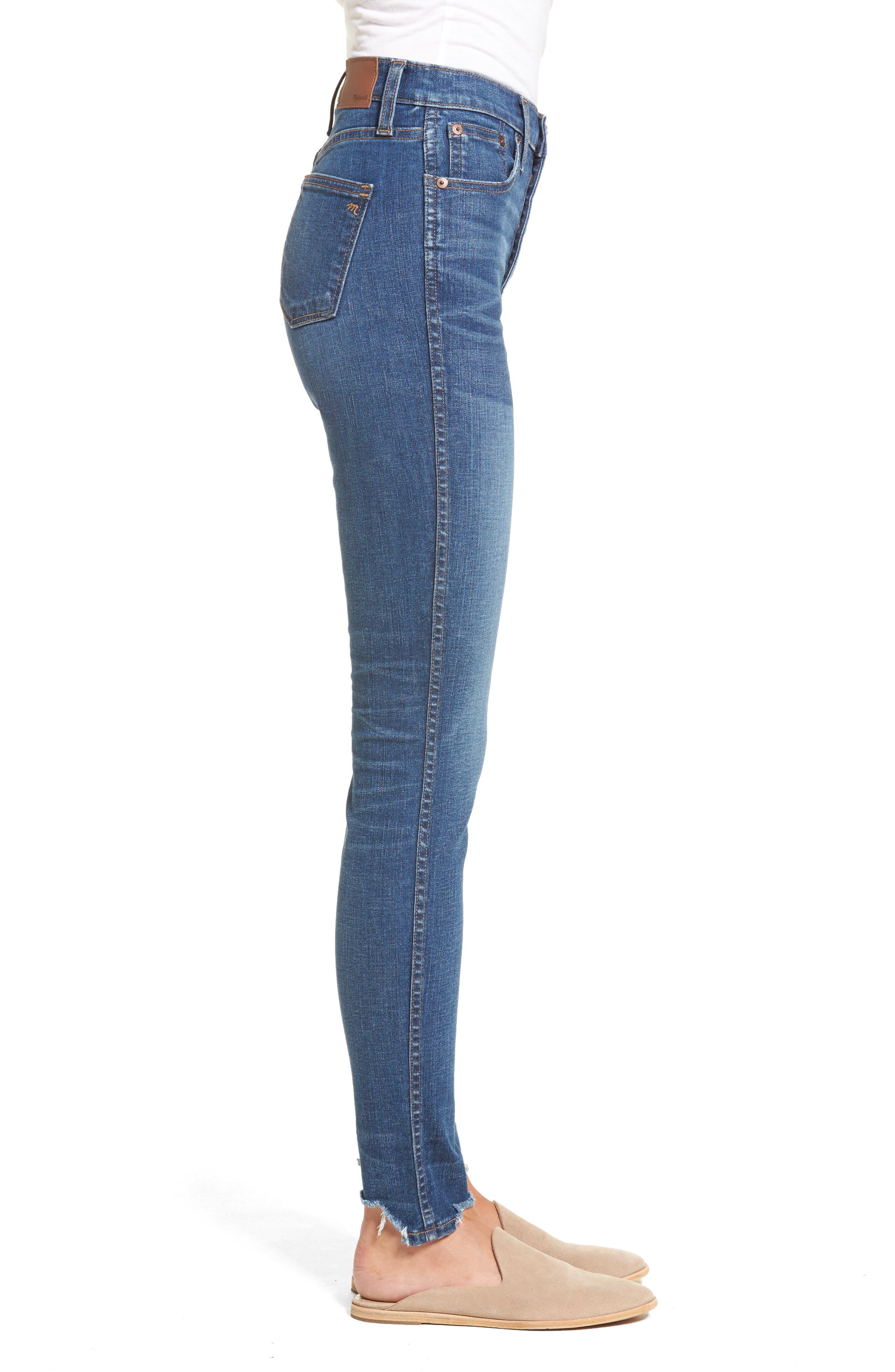 10-Inch Chewed Hem Skinny Jeans,                             Alternate thumbnail 3, color,                             400