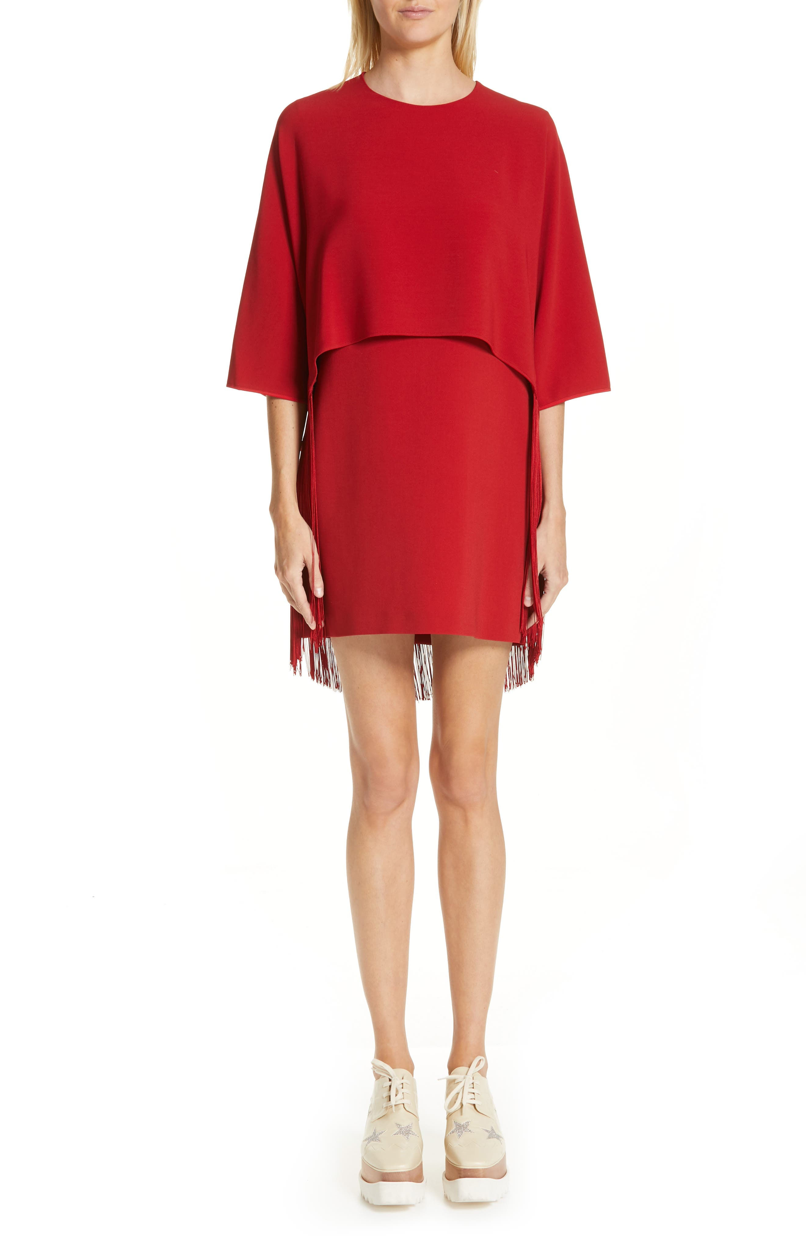 Fringe Overlay Stretch Cady Dress,                         Main,                         color, RED ROMANCE