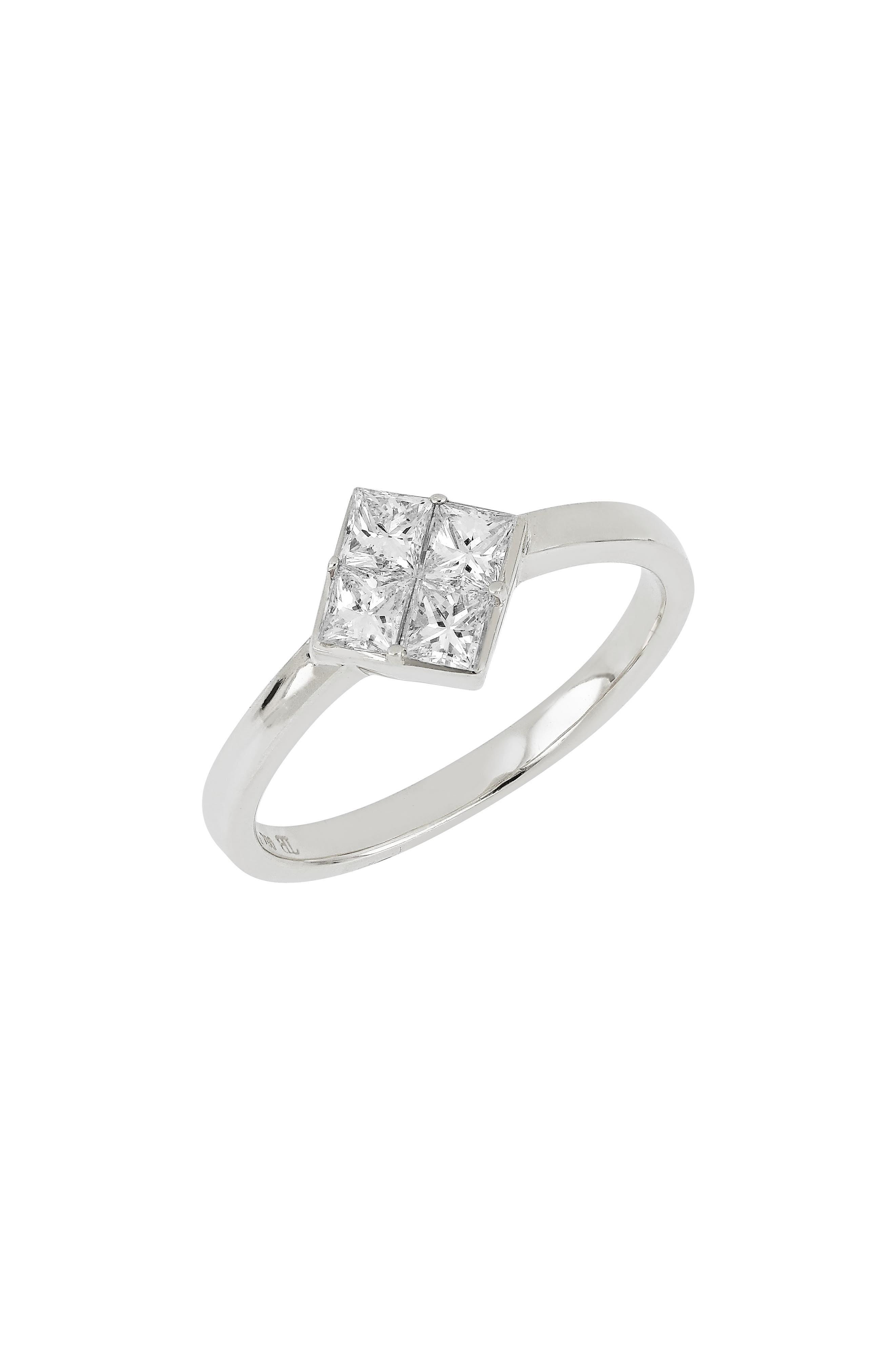 Diamond Cluster Ring,                         Main,                         color, WHITE GOLD/ DIA