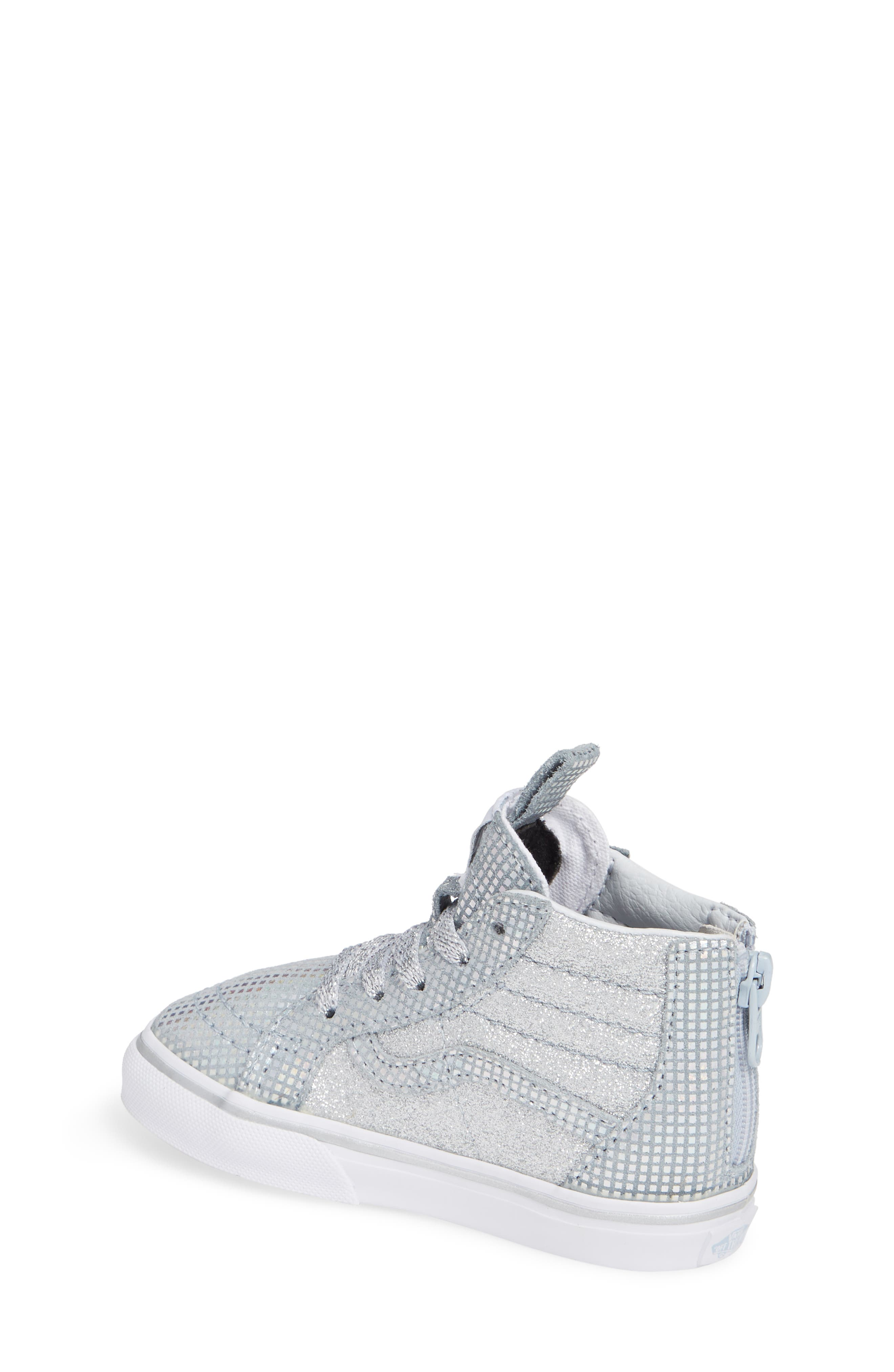 SK8-Hi Zip Sparkle Sneaker,                             Alternate thumbnail 2, color,                             METALLIC SILVER GLITTER