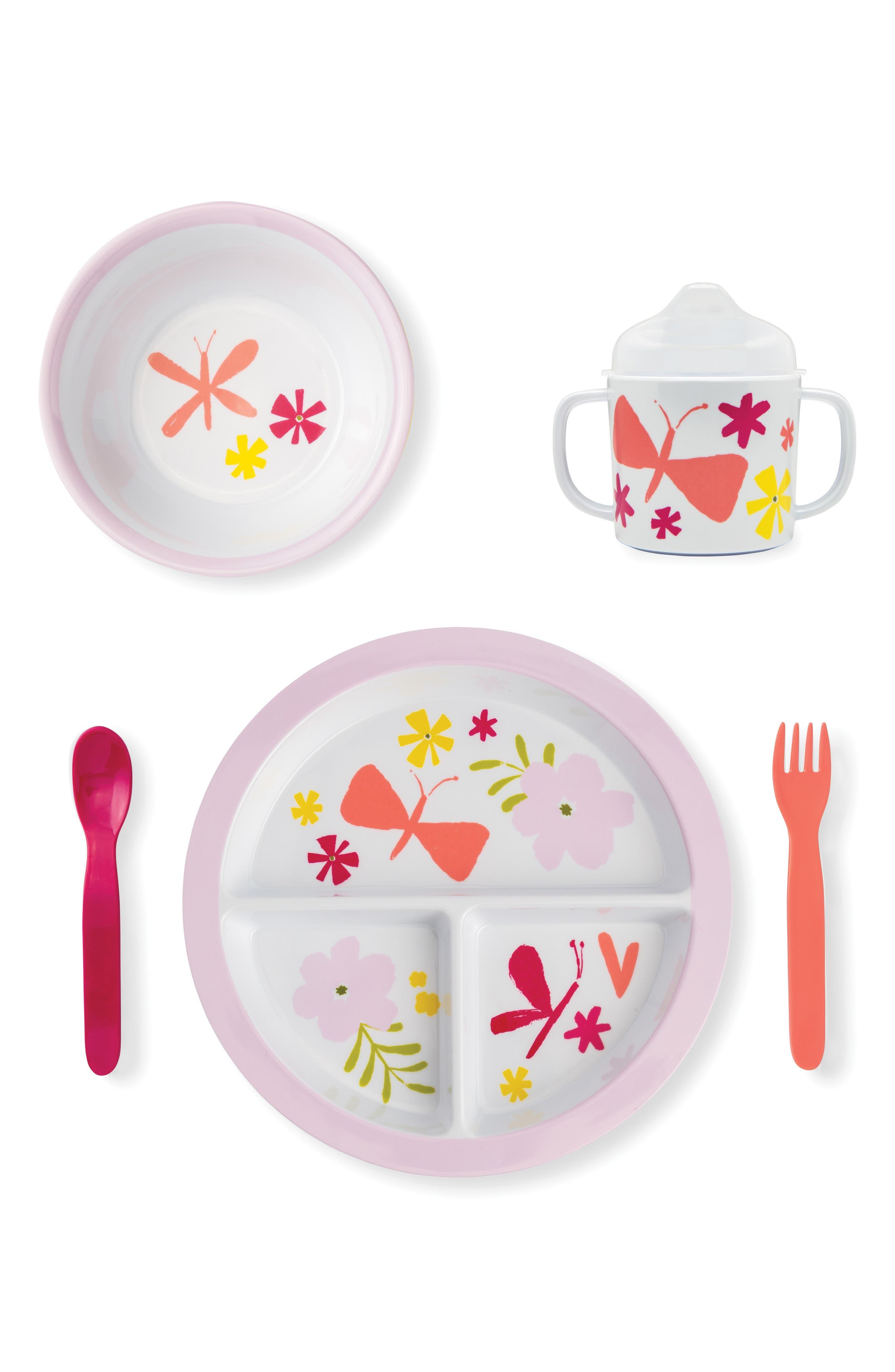 5-piece melamine dining set,                         Main,                         color, PINK