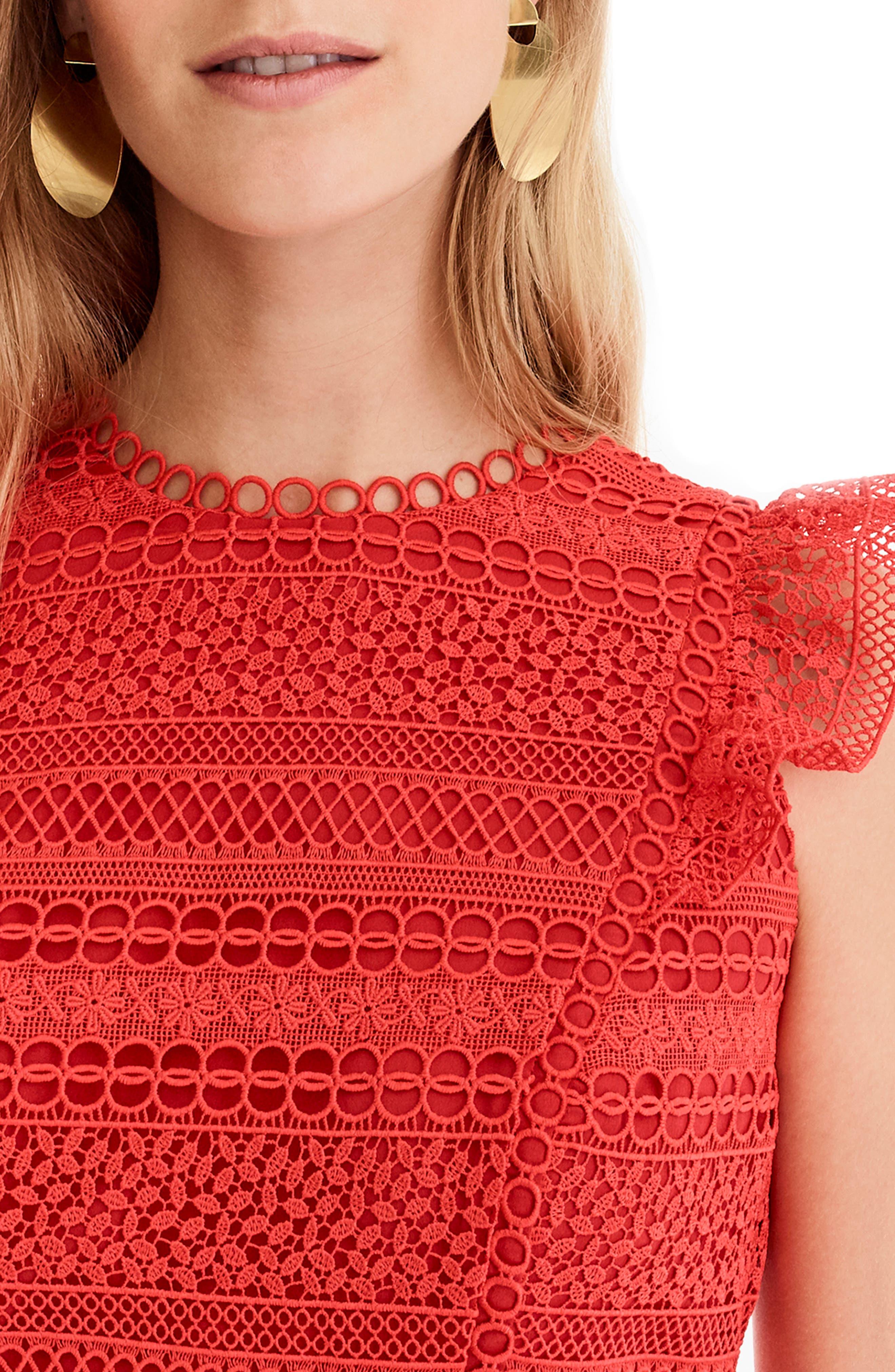 Cap Sleeve Ruffle Lace Dress,                             Alternate thumbnail 4, color,                             BRIGHT CERISE