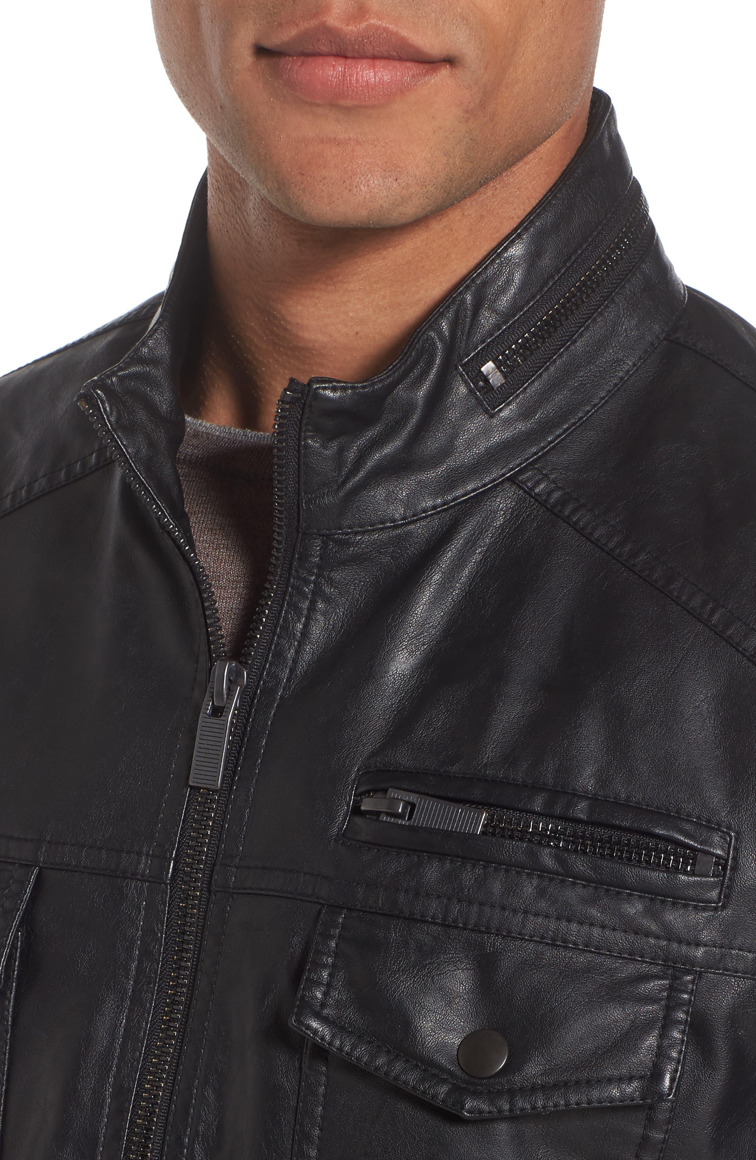 Faux Leather Jacket,                             Alternate thumbnail 4, color,                             001