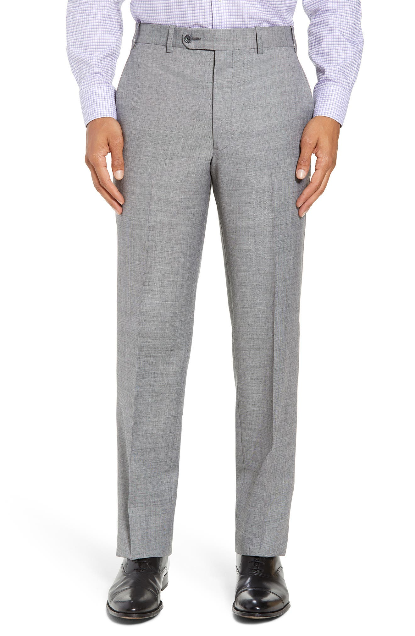 Torino Flat Front Solid Wool Trousers,                             Main thumbnail 2, color,
