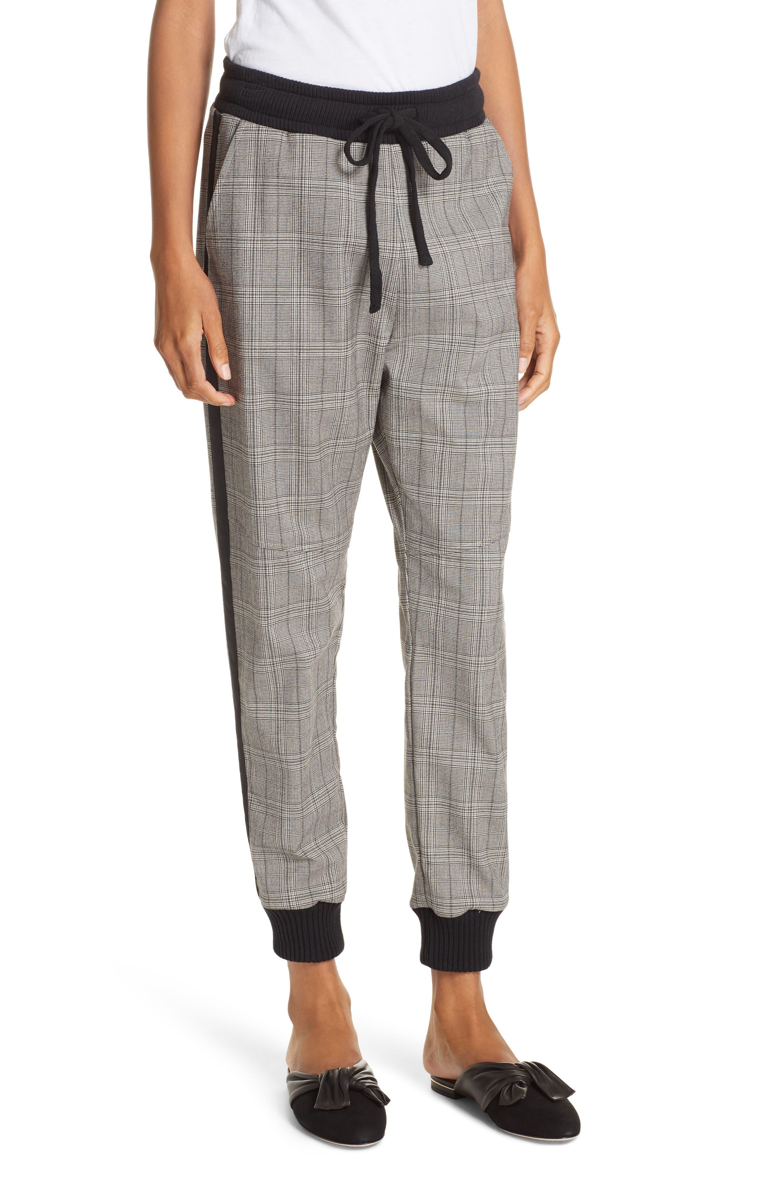 Glen Plaid Jogger Pants,                         Main,                         color, BLACK
