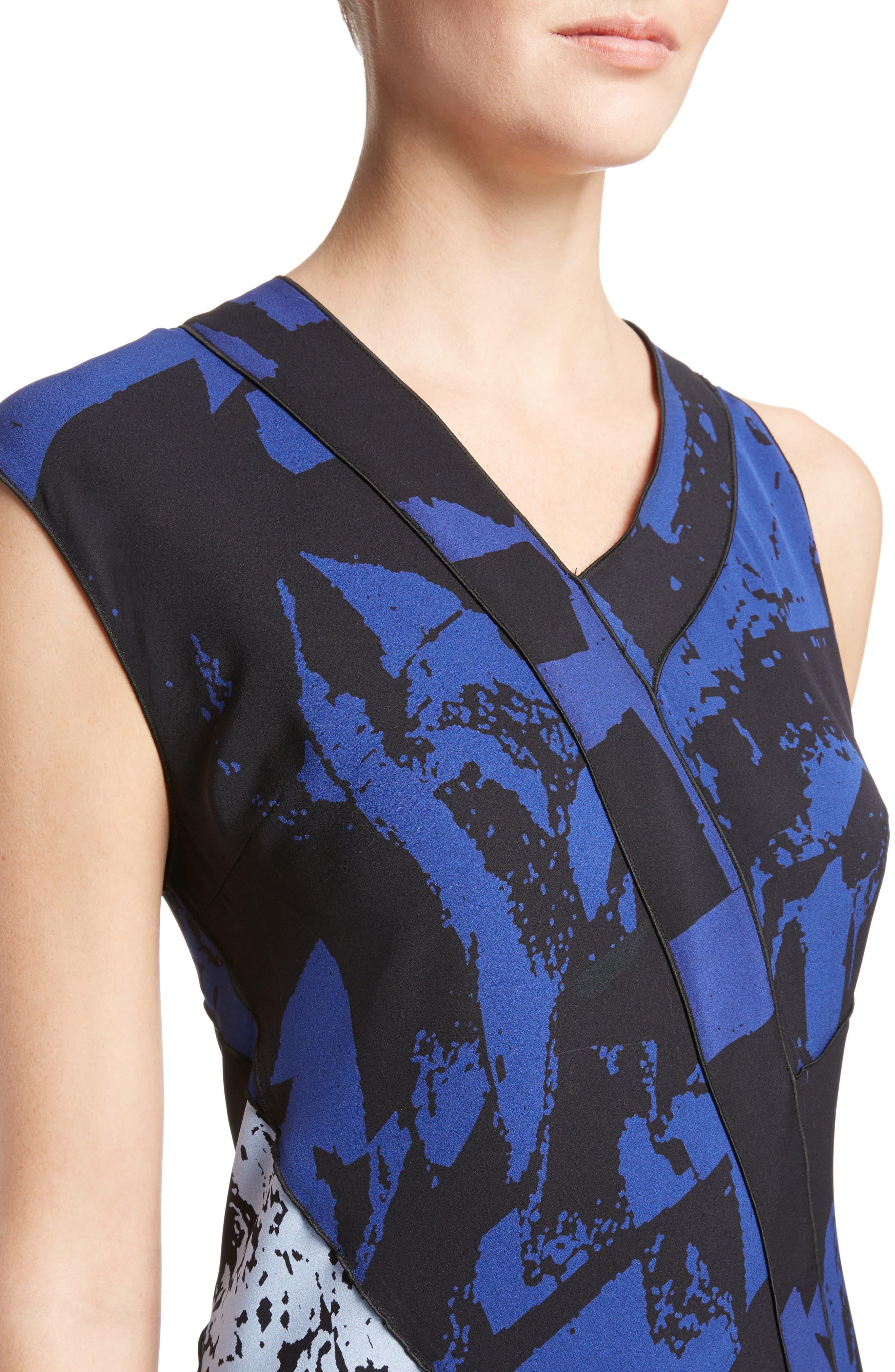 Print Silk Georgette Asymmetrical Dress,                             Alternate thumbnail 4, color,                             400