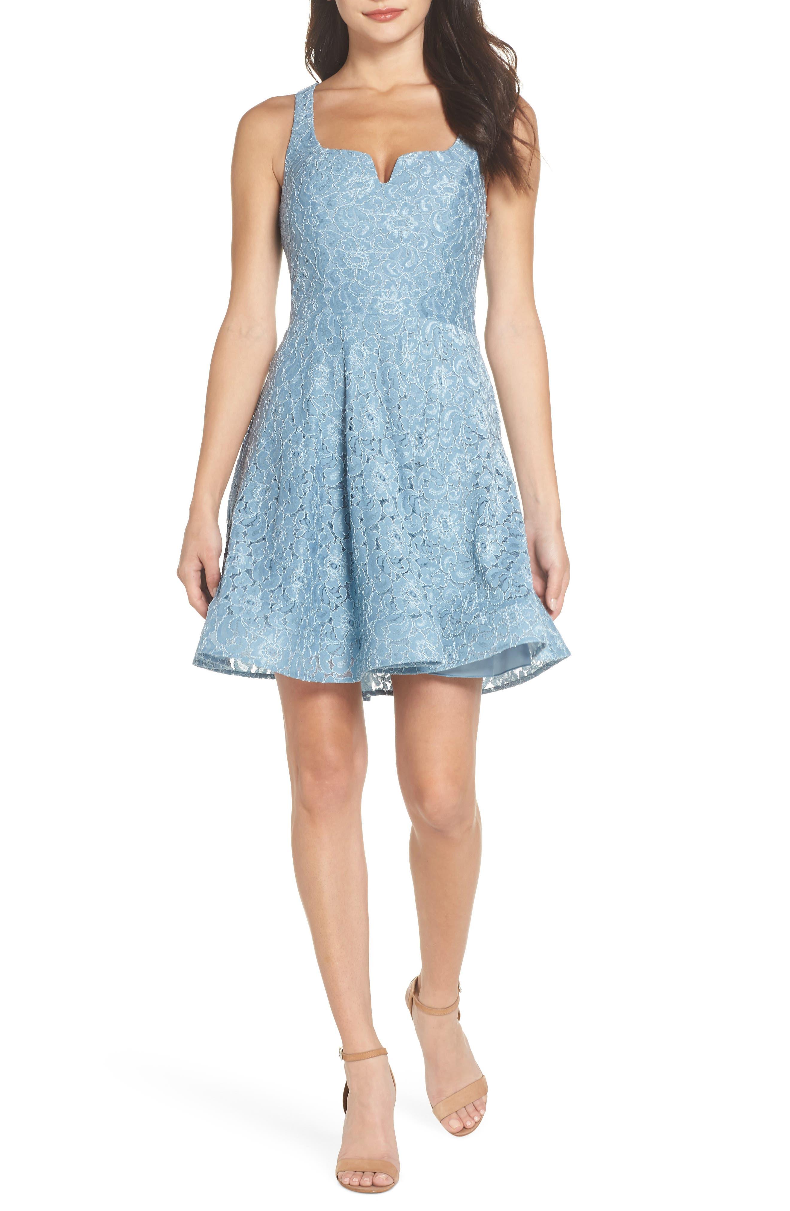 Notch Front Lace Fit & Flare Dress,                             Main thumbnail 1, color,                             BLUE