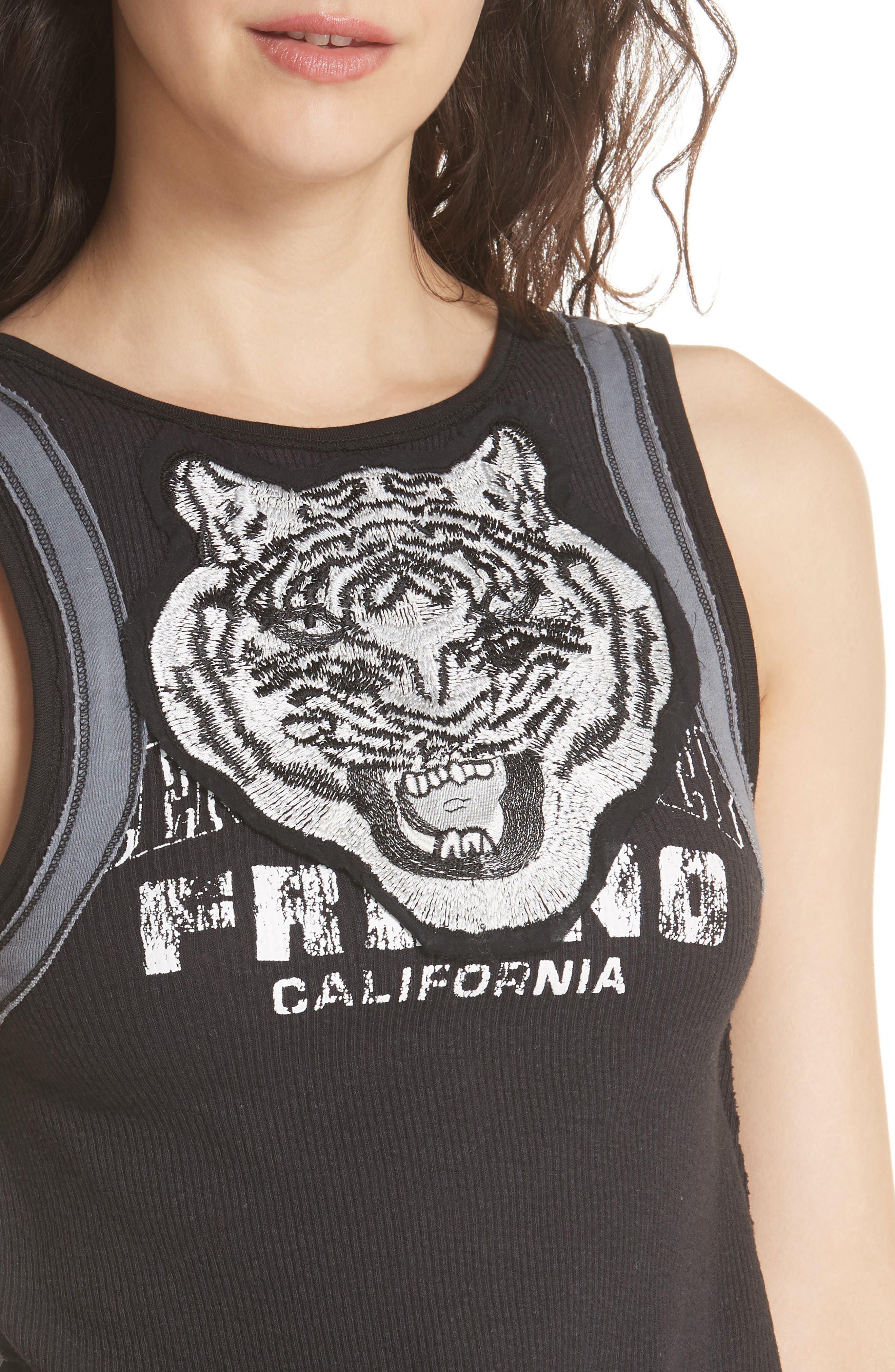 FREE PEOPLE,                             We the Free by Free People Mini Moto Graphic Tank,                             Alternate thumbnail 4, color,                             001