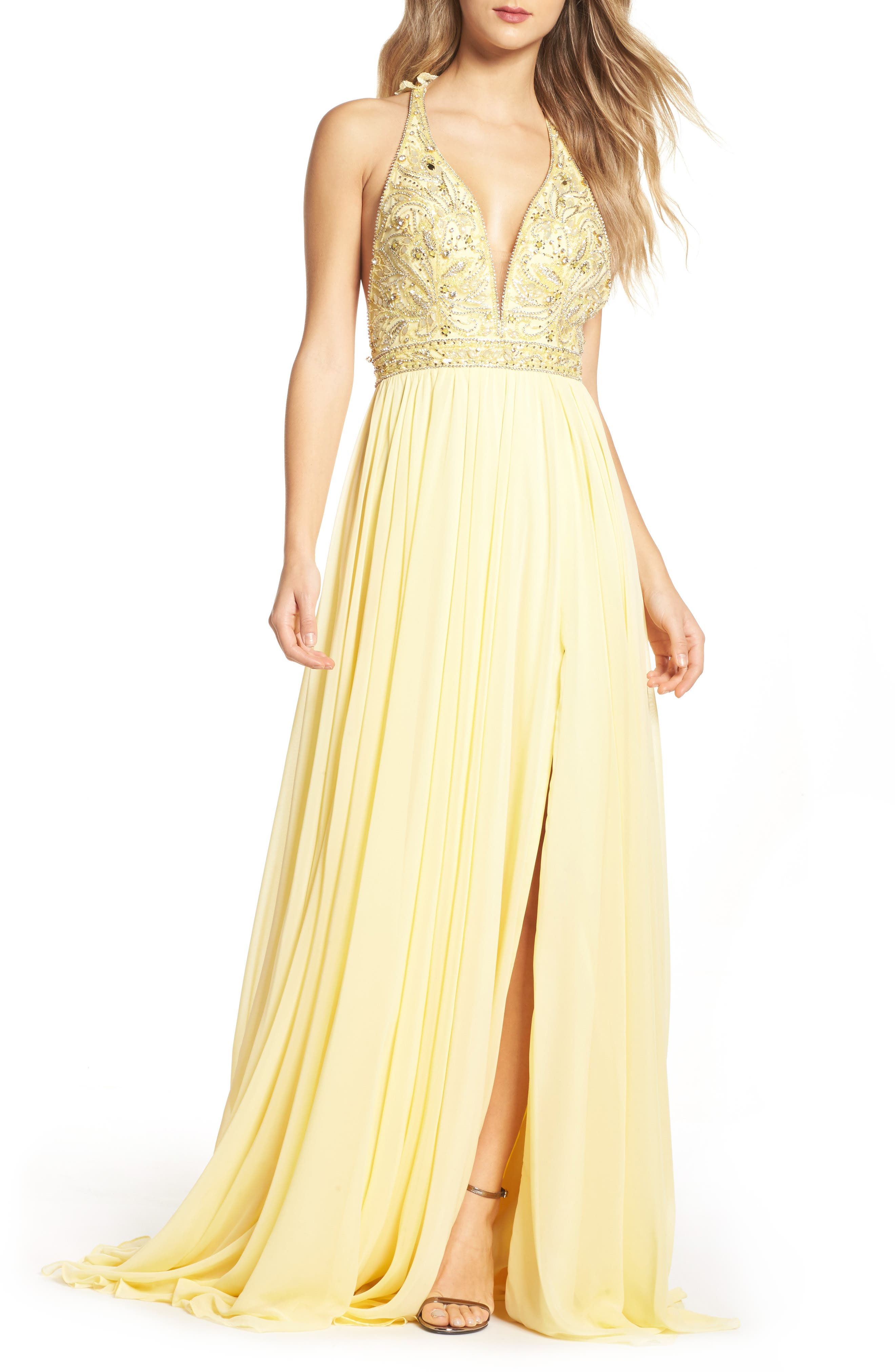 Beaded Halter Neck Gown,                             Main thumbnail 1, color,                             750