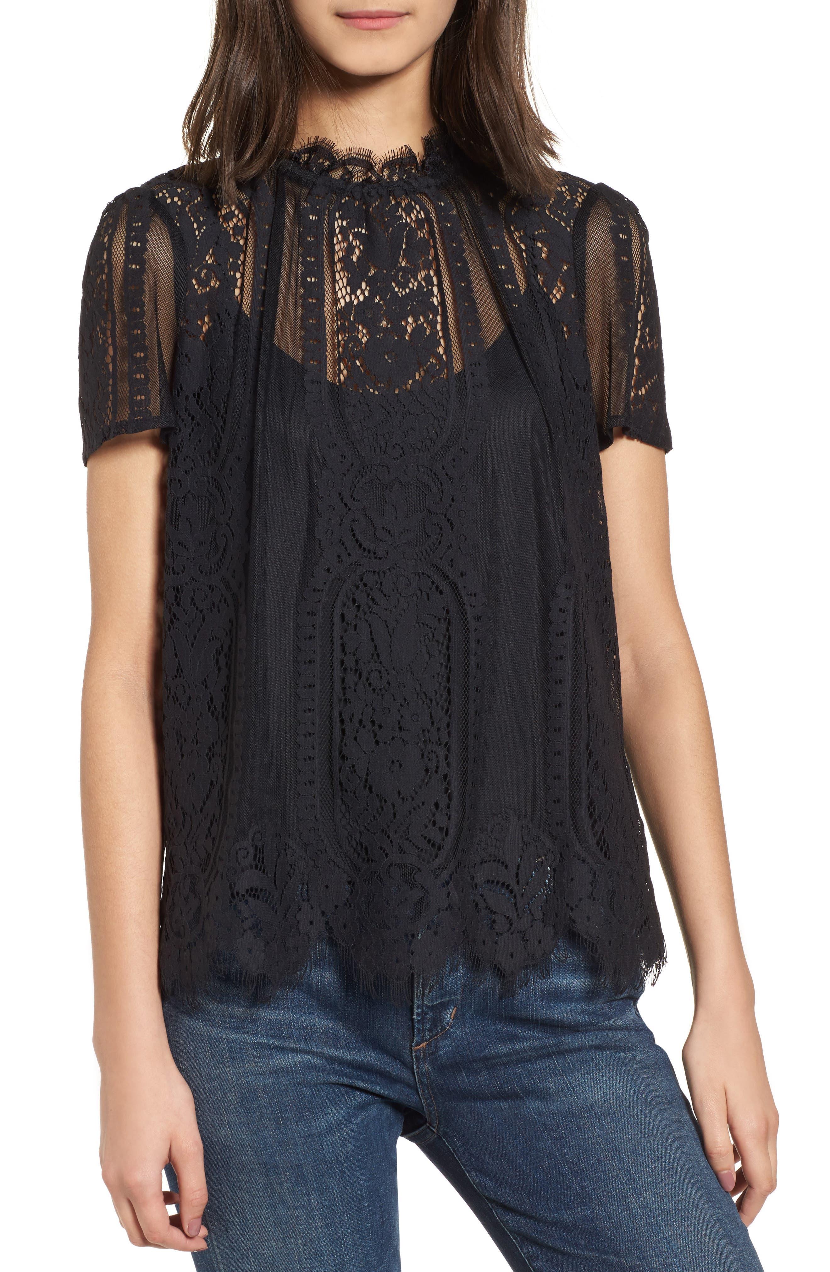Yasmin Sheer Lace Top,                         Main,                         color, BLACK
