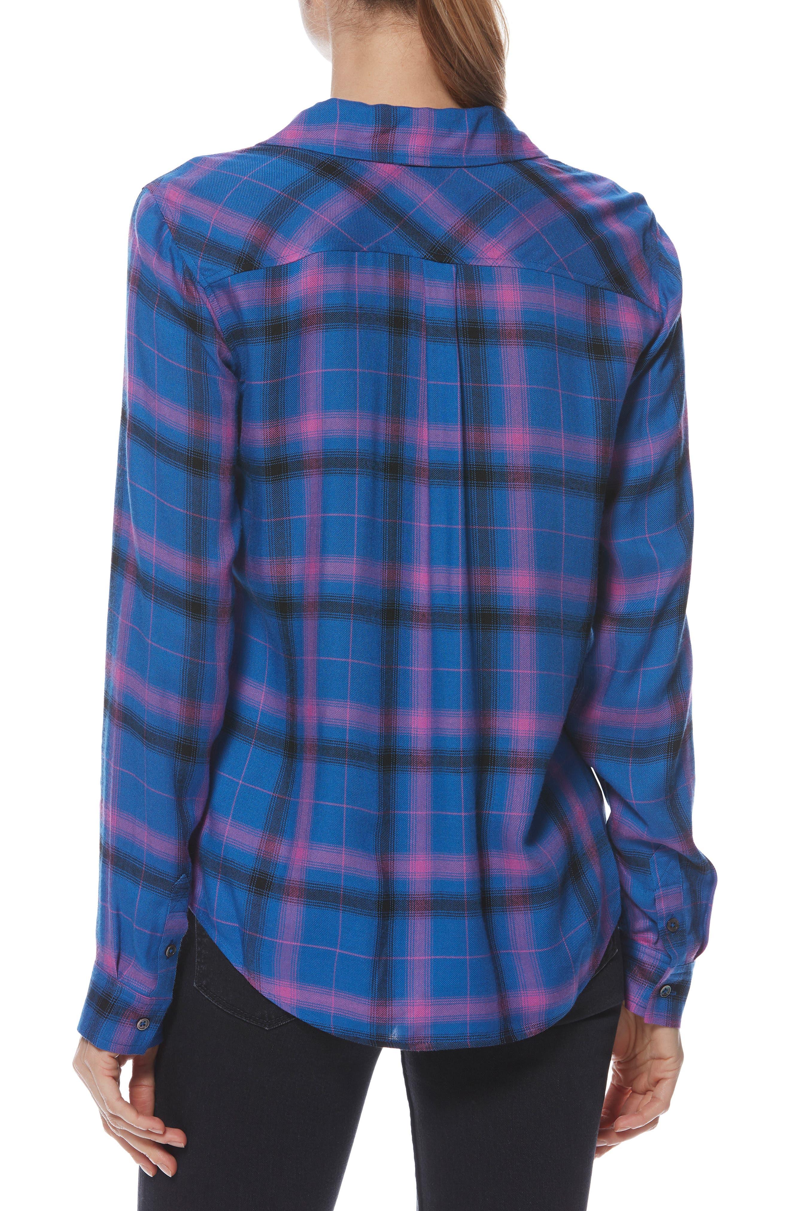 Mya Plaid Shirt,                             Alternate thumbnail 2, color,                             BRIGHT CROWN BLUE MULTI