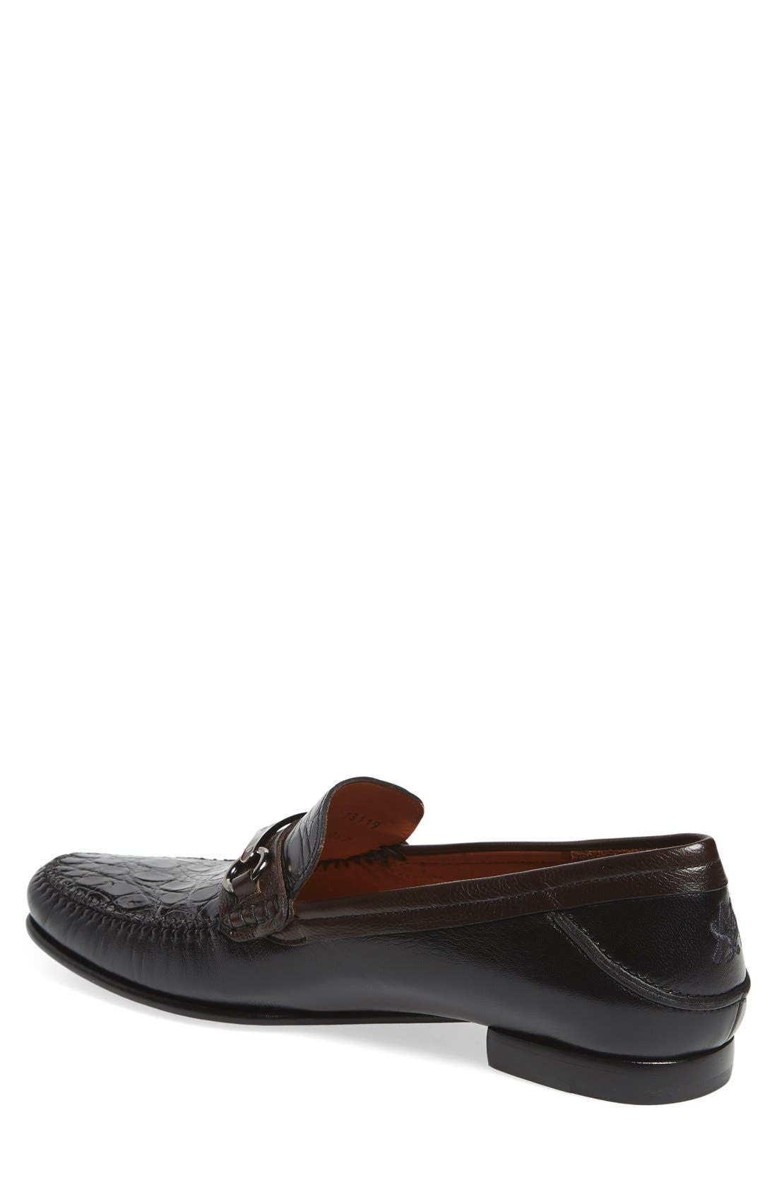 'Gaudi Venetian' Genuine Crocodile Bit Loafer,                             Alternate thumbnail 3, color,                             011