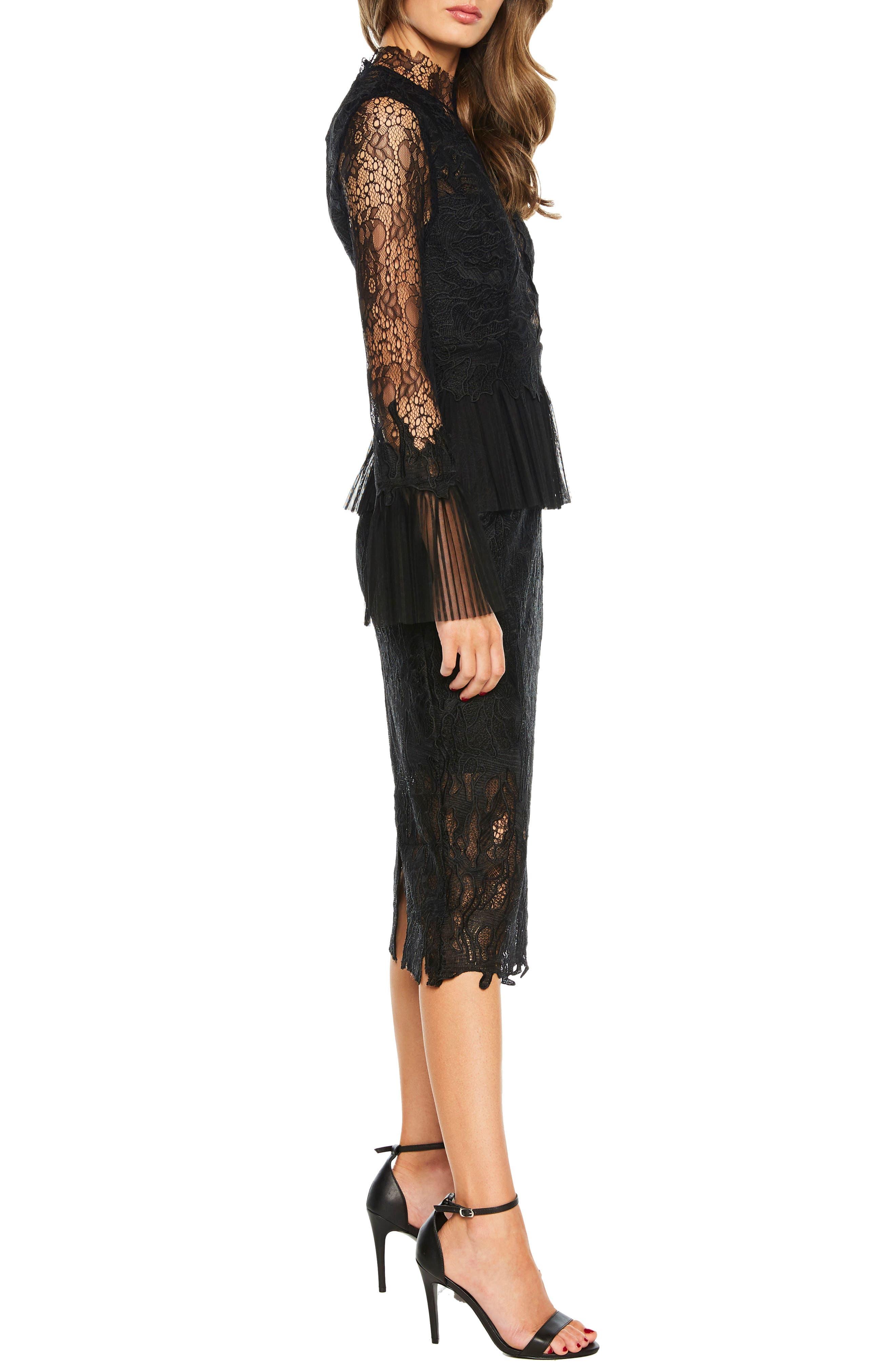 Frankie Lace Dress,                             Alternate thumbnail 3, color,                             001