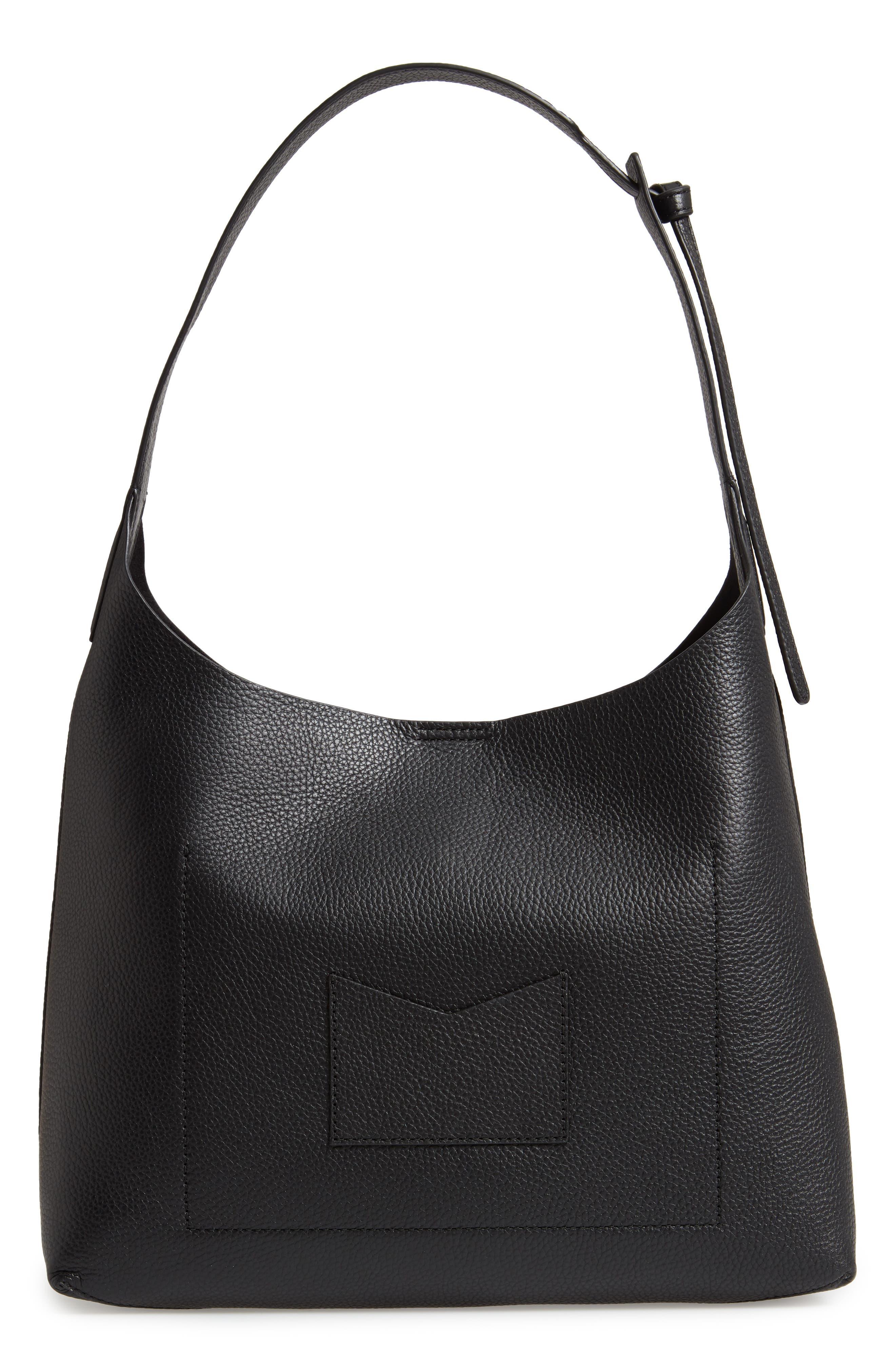 Medium Leather Hobo,                             Alternate thumbnail 3, color,                             BLACK