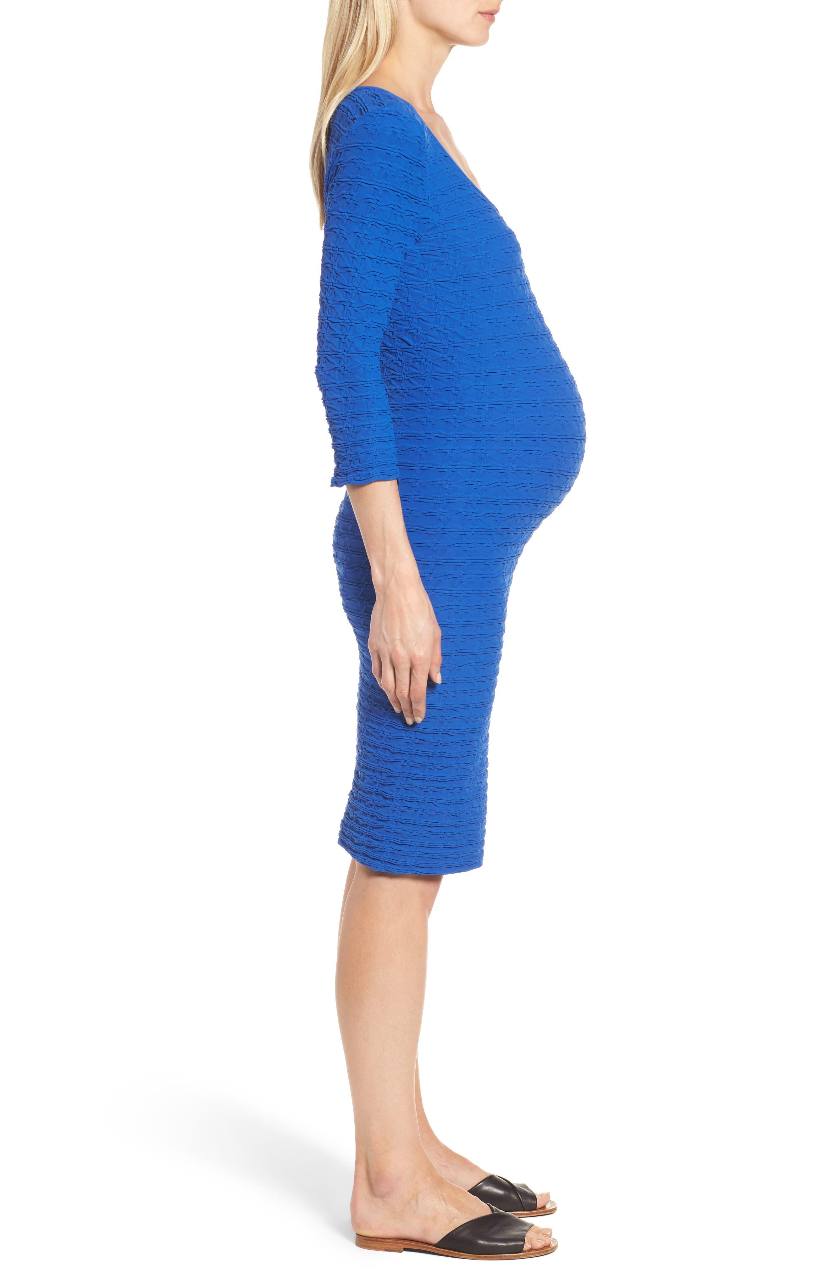 Crinkle Maternity Sheath Dress,                             Alternate thumbnail 3, color,                             400