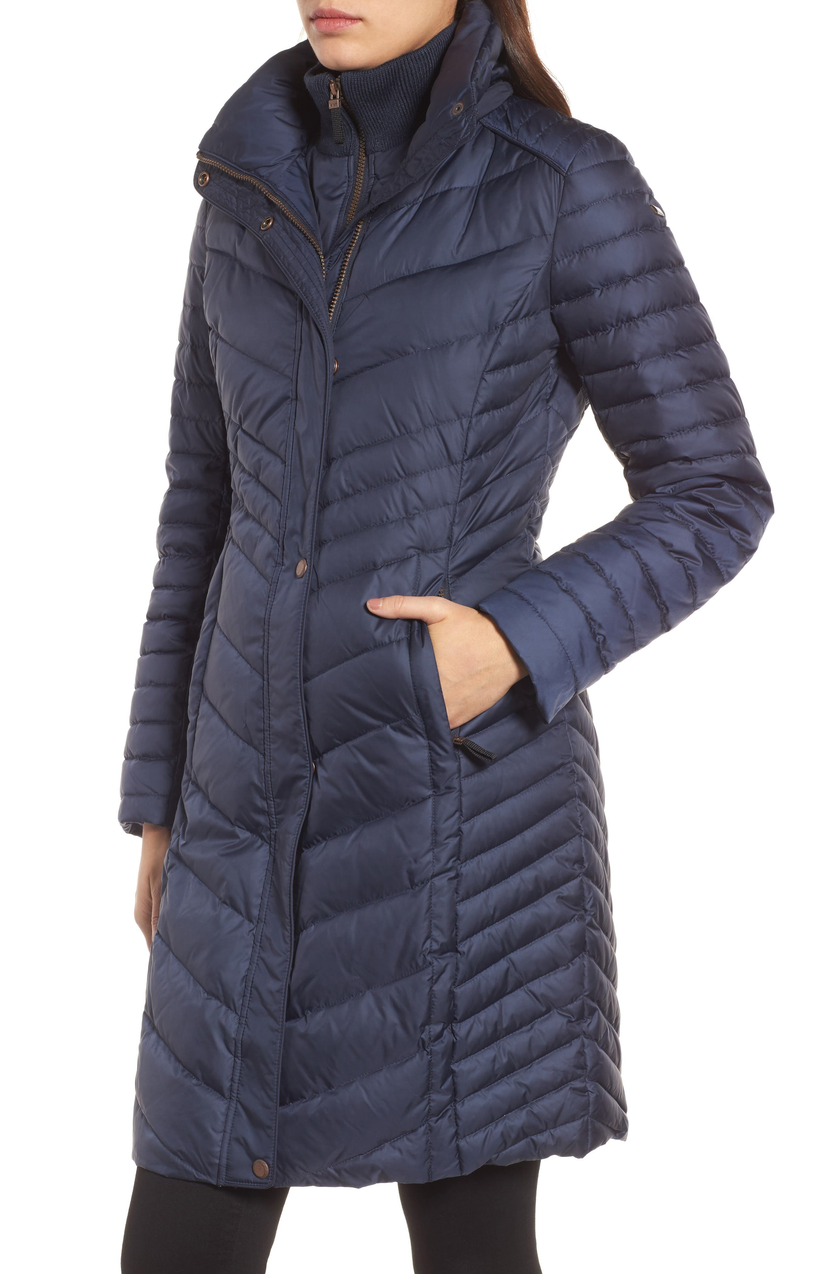 Chevron Quilted Coat with Genuine Coyote Fur Trim,                             Alternate thumbnail 12, color,
