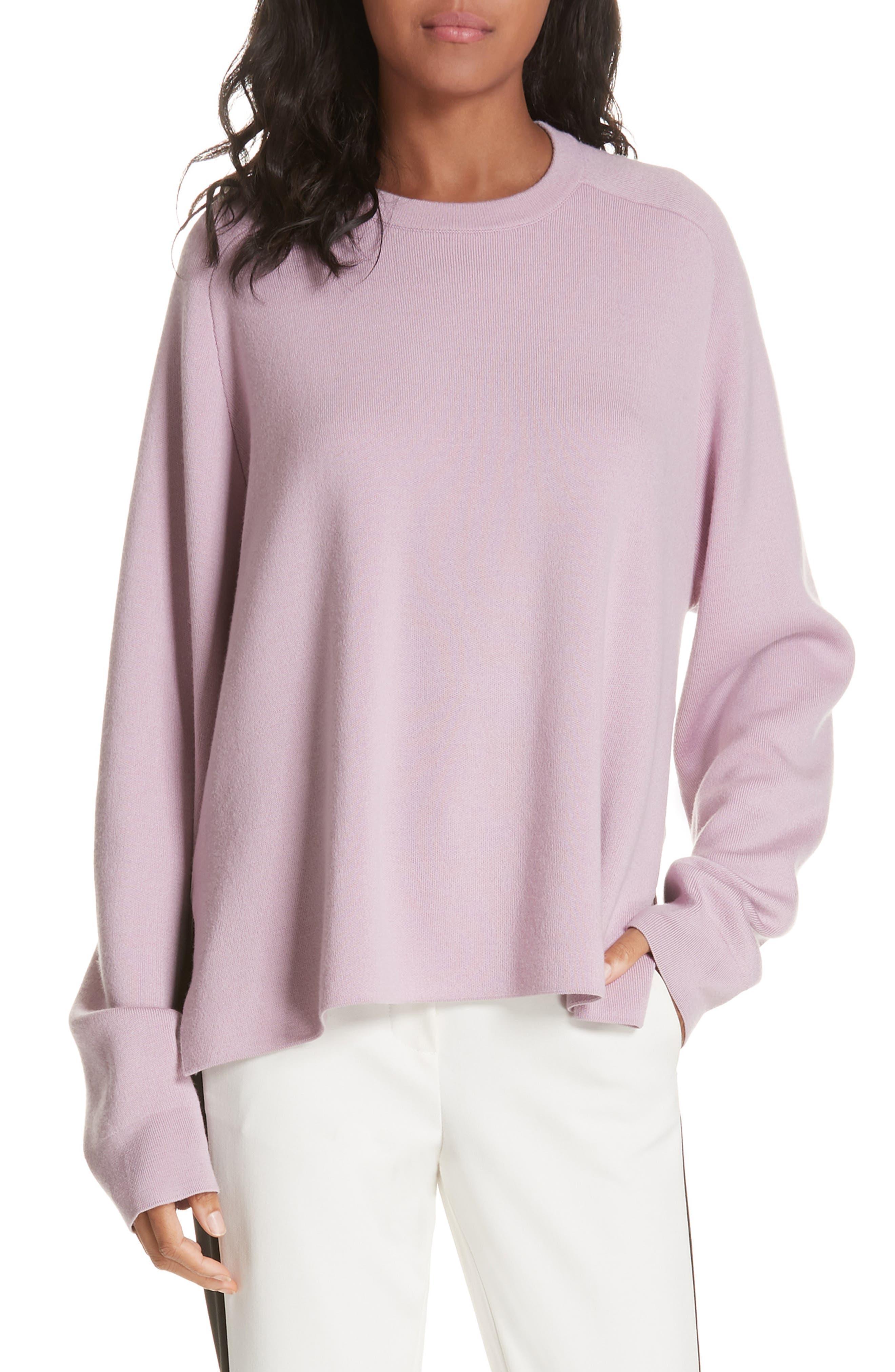 Tibi Silk Back Merino Wool Sweater, Pink
