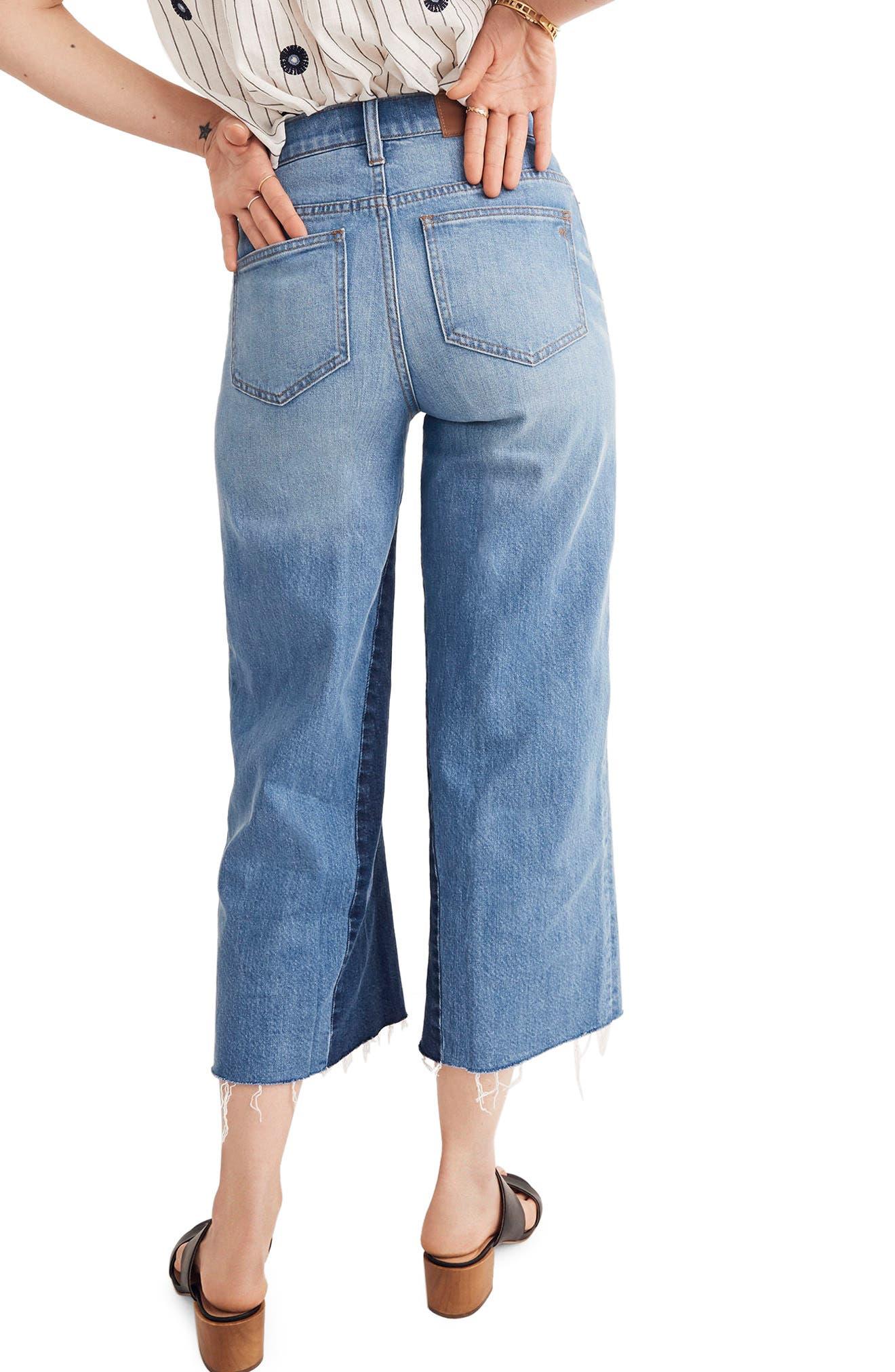 Gusset Crop Wide Leg Jeans,                             Alternate thumbnail 2, color,                             400