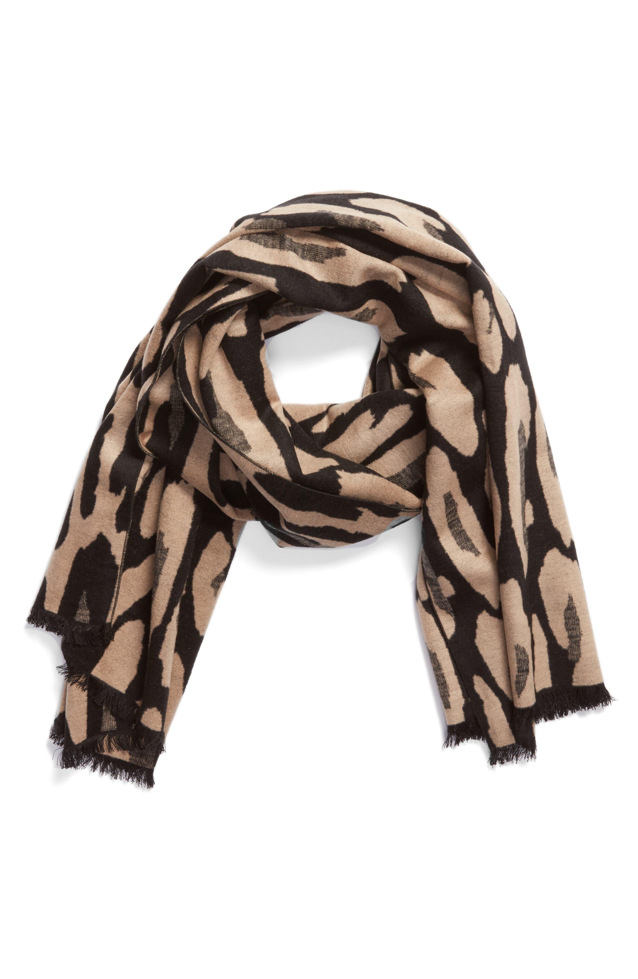 Leopard Print Brushed Silk Scarf,                             Alternate thumbnail 2, color,                             001