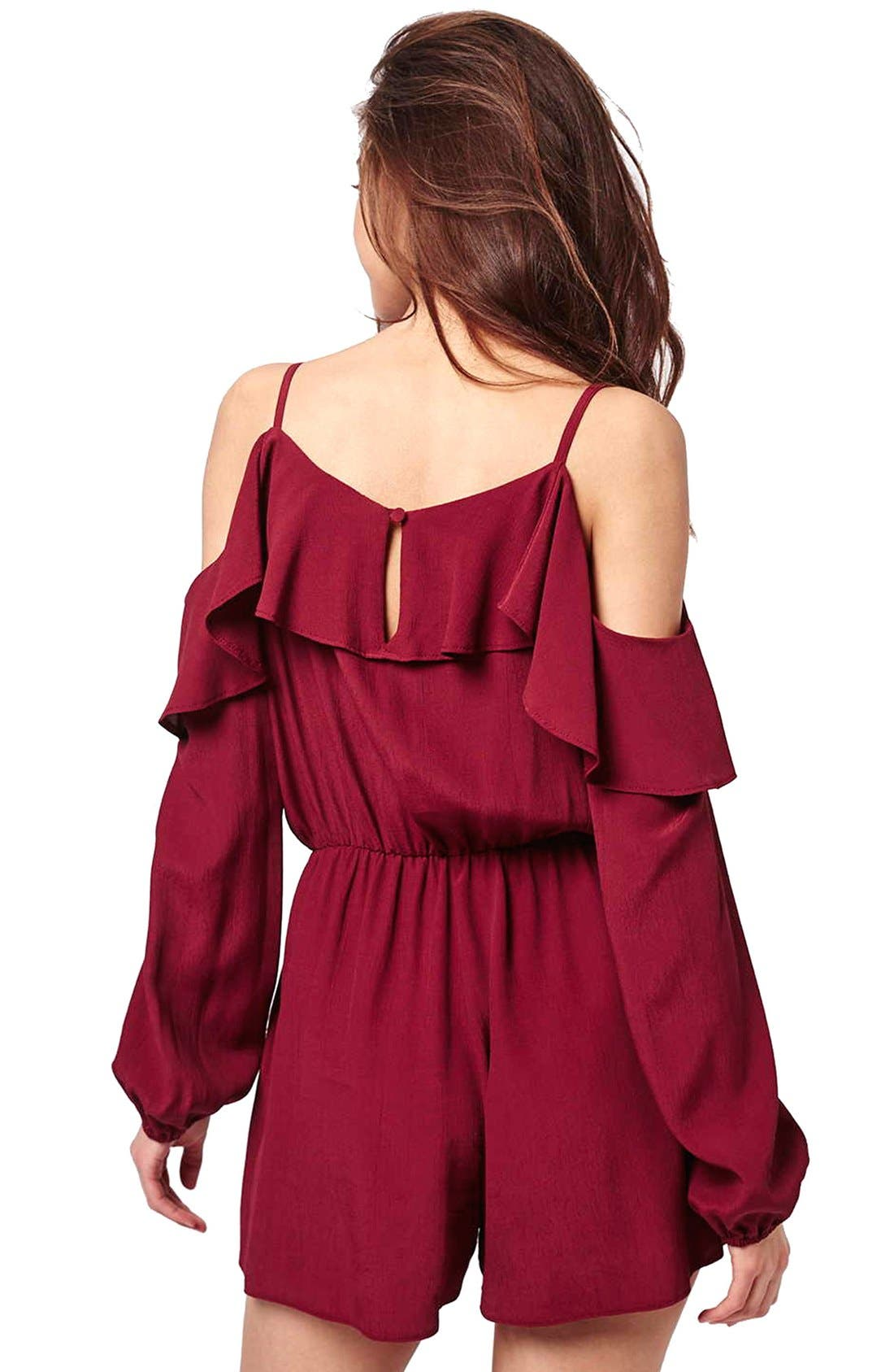 Ruffled Cold Shoulder Romper,                             Alternate thumbnail 2, color,