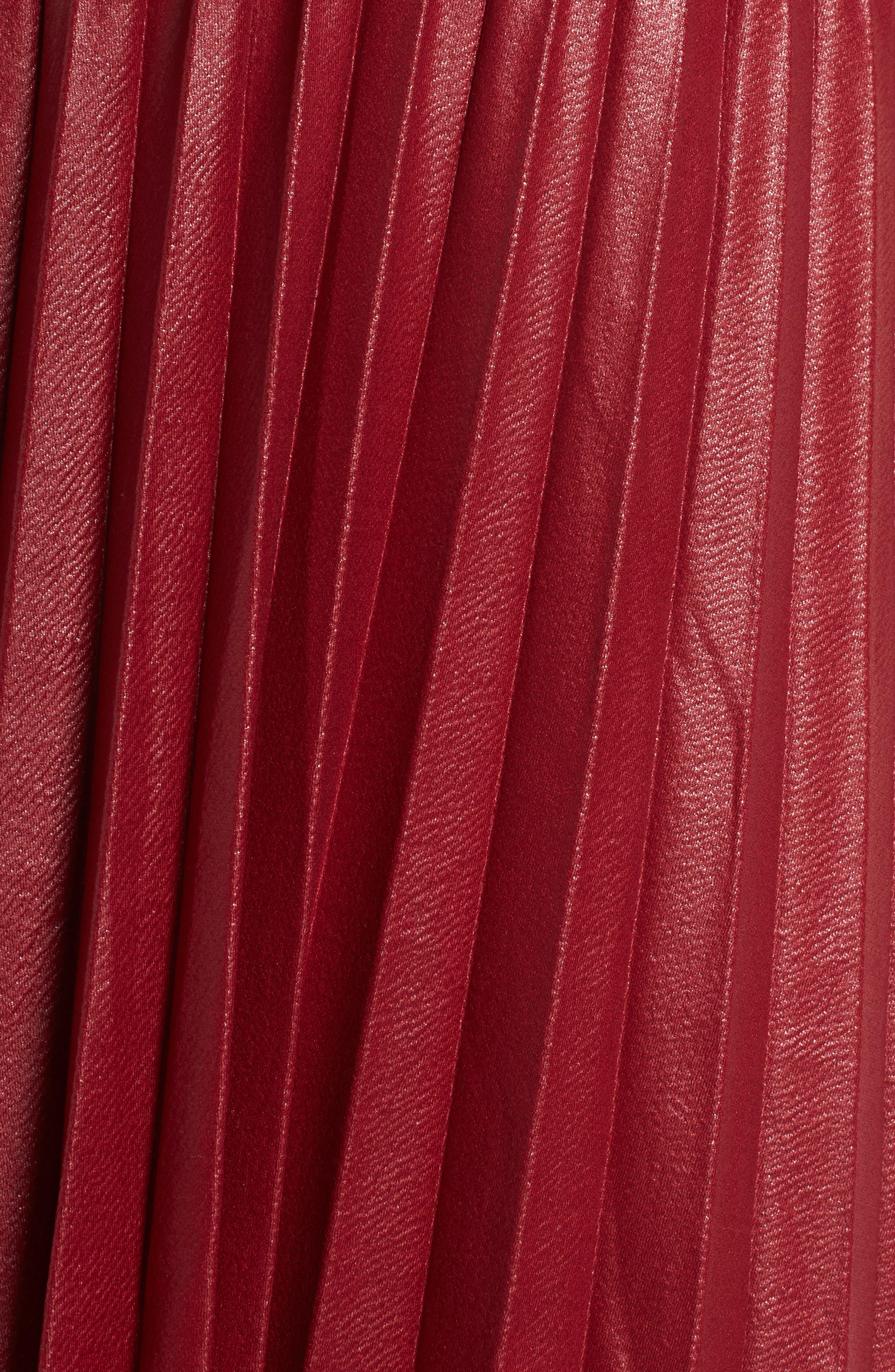 Coated Pleated Midi Skirt,                             Alternate thumbnail 5, color,                             OXBLOOD