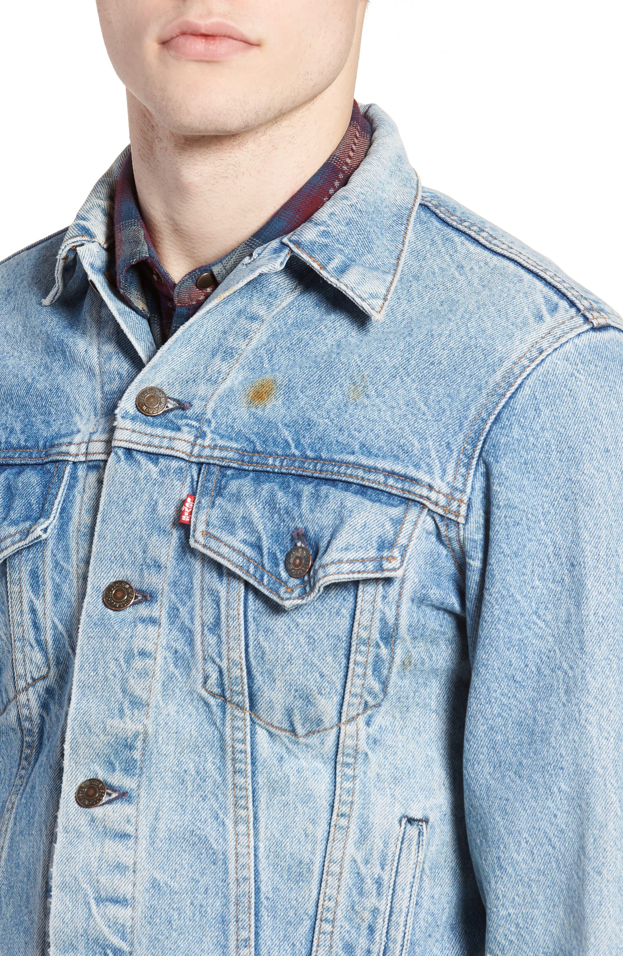 Authorized Vintage Trucker Jacket,                             Alternate thumbnail 4, color,                             AV BLUE