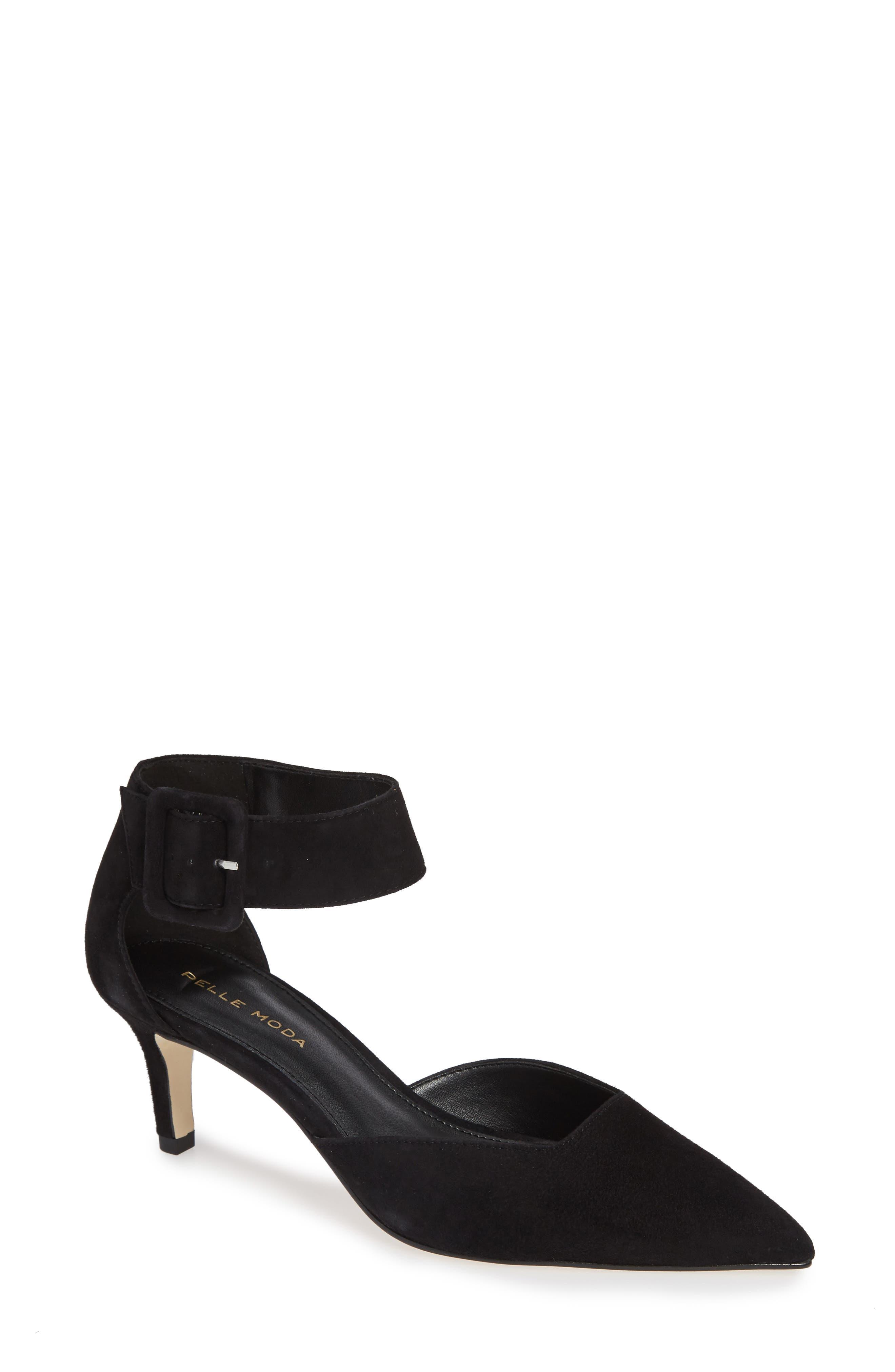 Kenley Ankle Strap Pump,                         Main,                         color, BLACK SUEDE