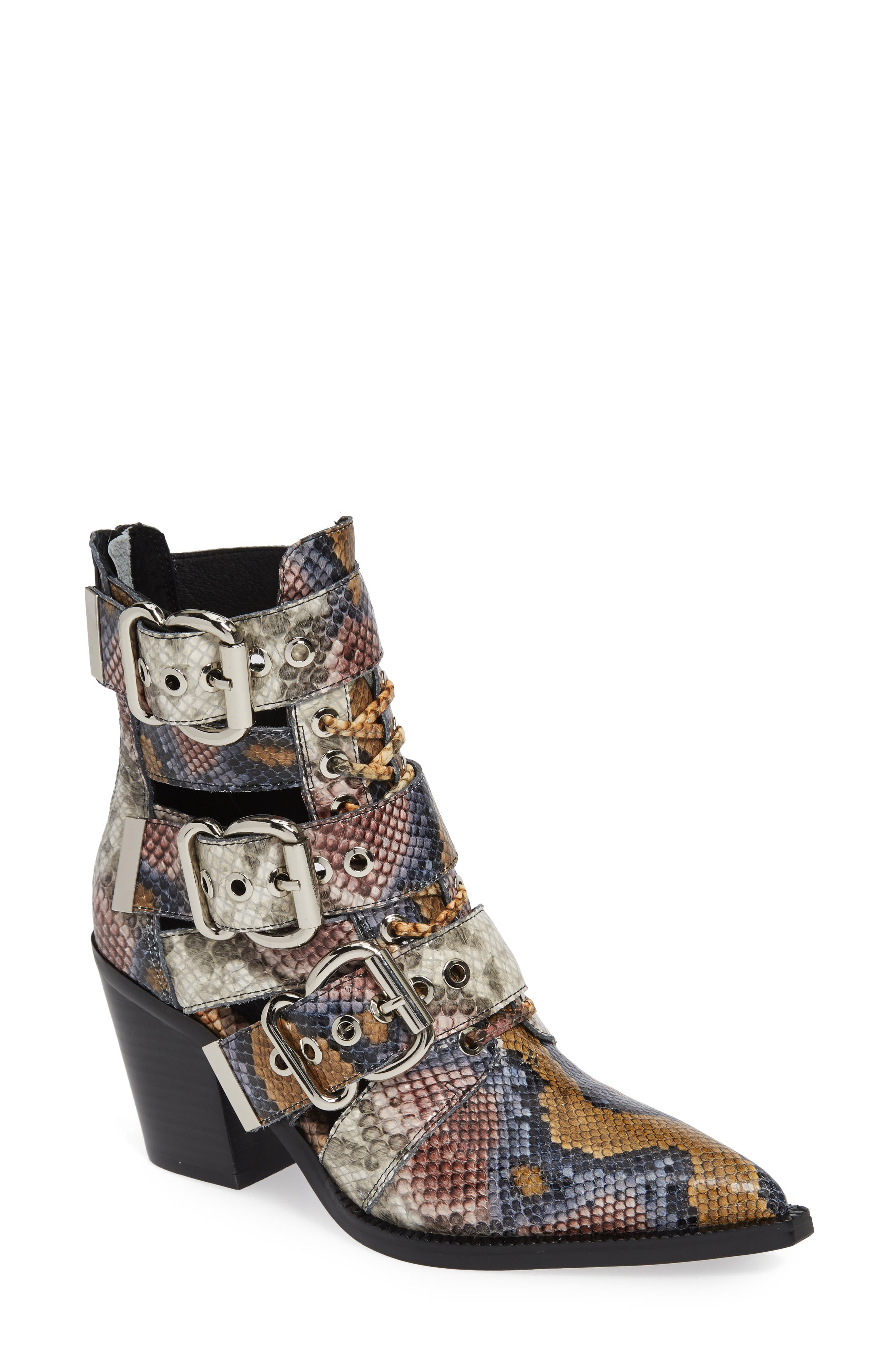 Caceres Bootie,                             Main thumbnail 1, color,                             GREY WINE SNAKE PRINT