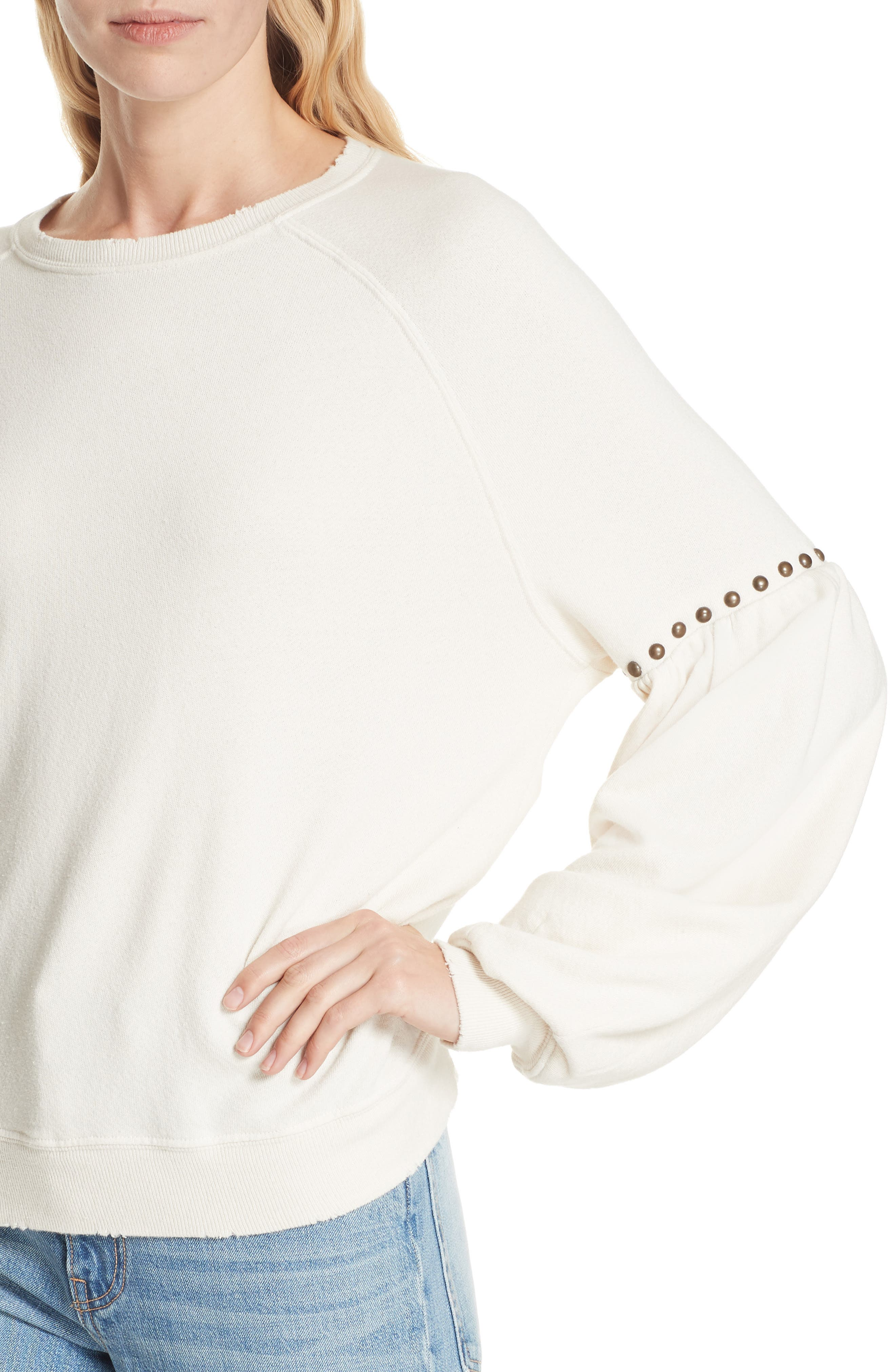 The Bishop Sleeve Studded Sweatshirt,                             Alternate thumbnail 4, color,                             WASHED WHITE W/ STUDS