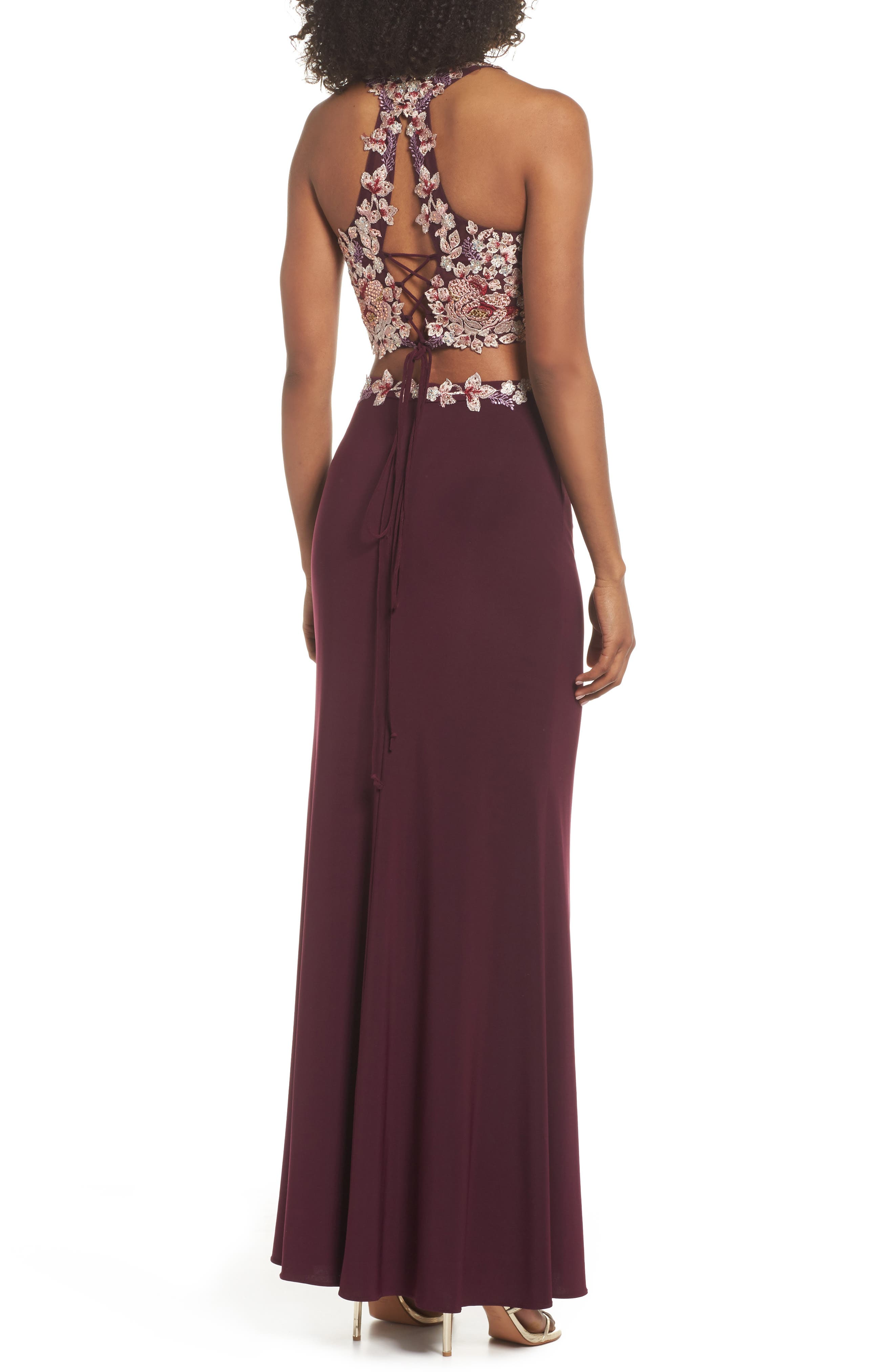 Embroidered Two-Piece Gown,                             Alternate thumbnail 2, color,                             WINE