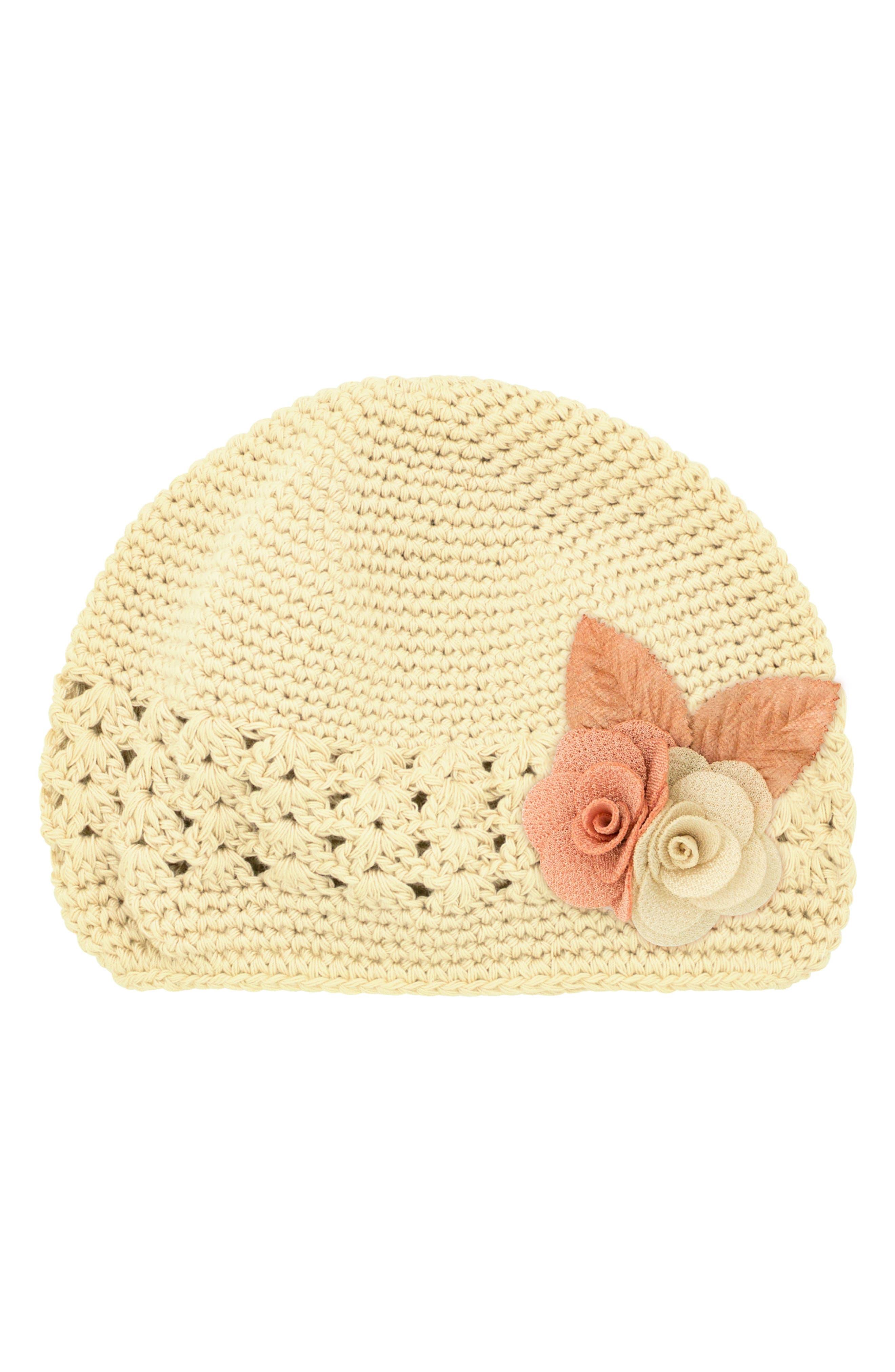 PLH BOWS Linen Flower Crochet Hat, Main, color, 120