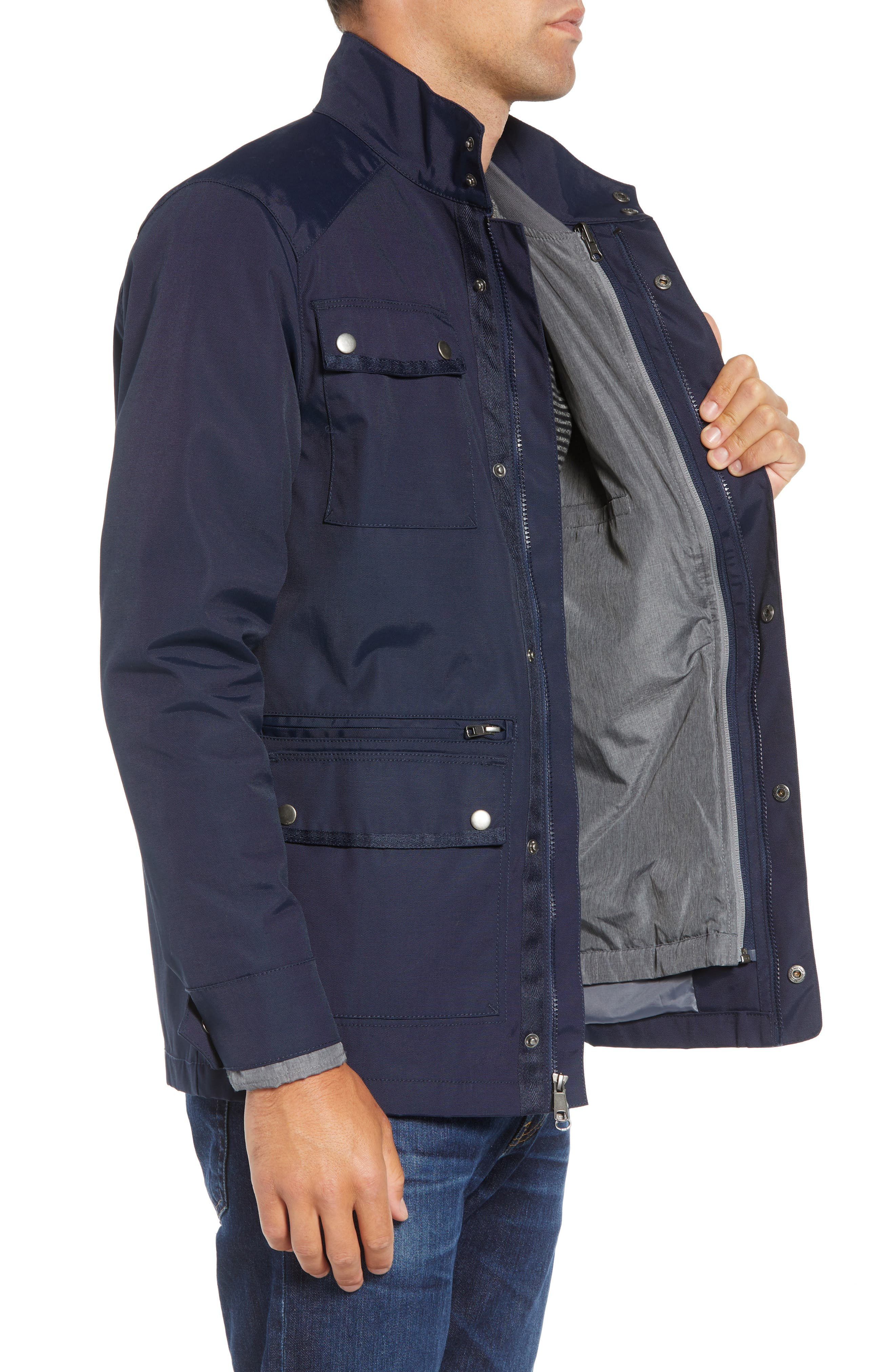 'Ethan' 3-in-1 Field Jacket,                             Alternate thumbnail 4, color,                             NAVY