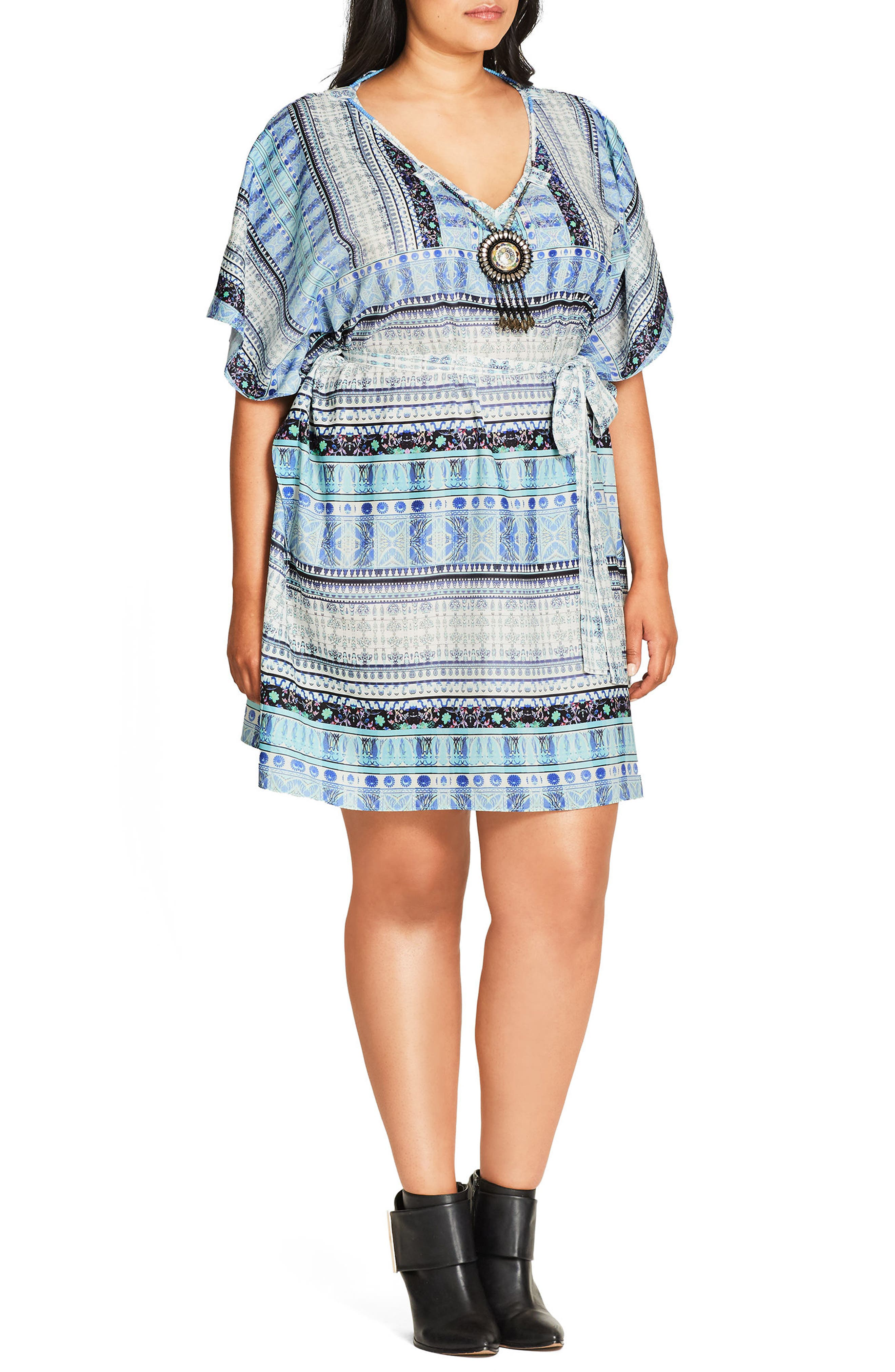 'Moroccan Affair' Embellished Print Tunic,                             Alternate thumbnail 3, color,                             401