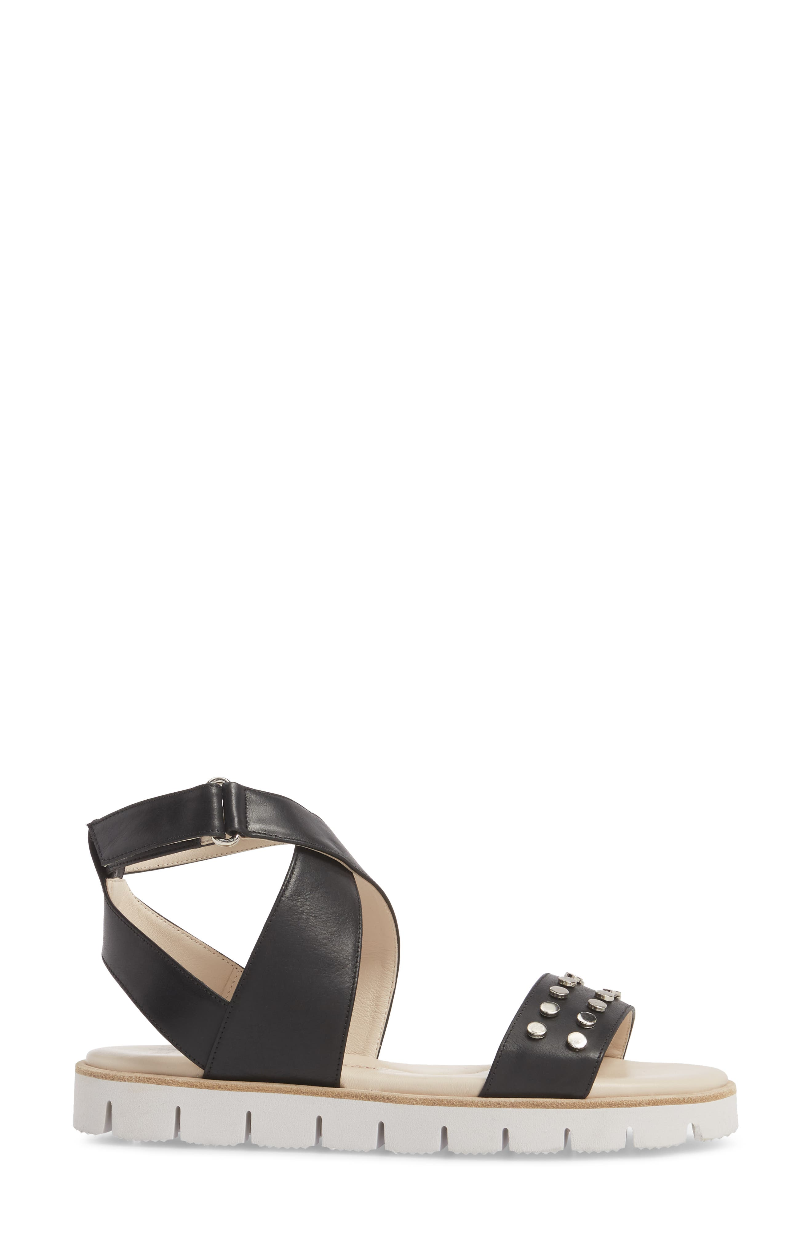 Barlume Sandal,                             Alternate thumbnail 3, color,                             BLACK LEATHER