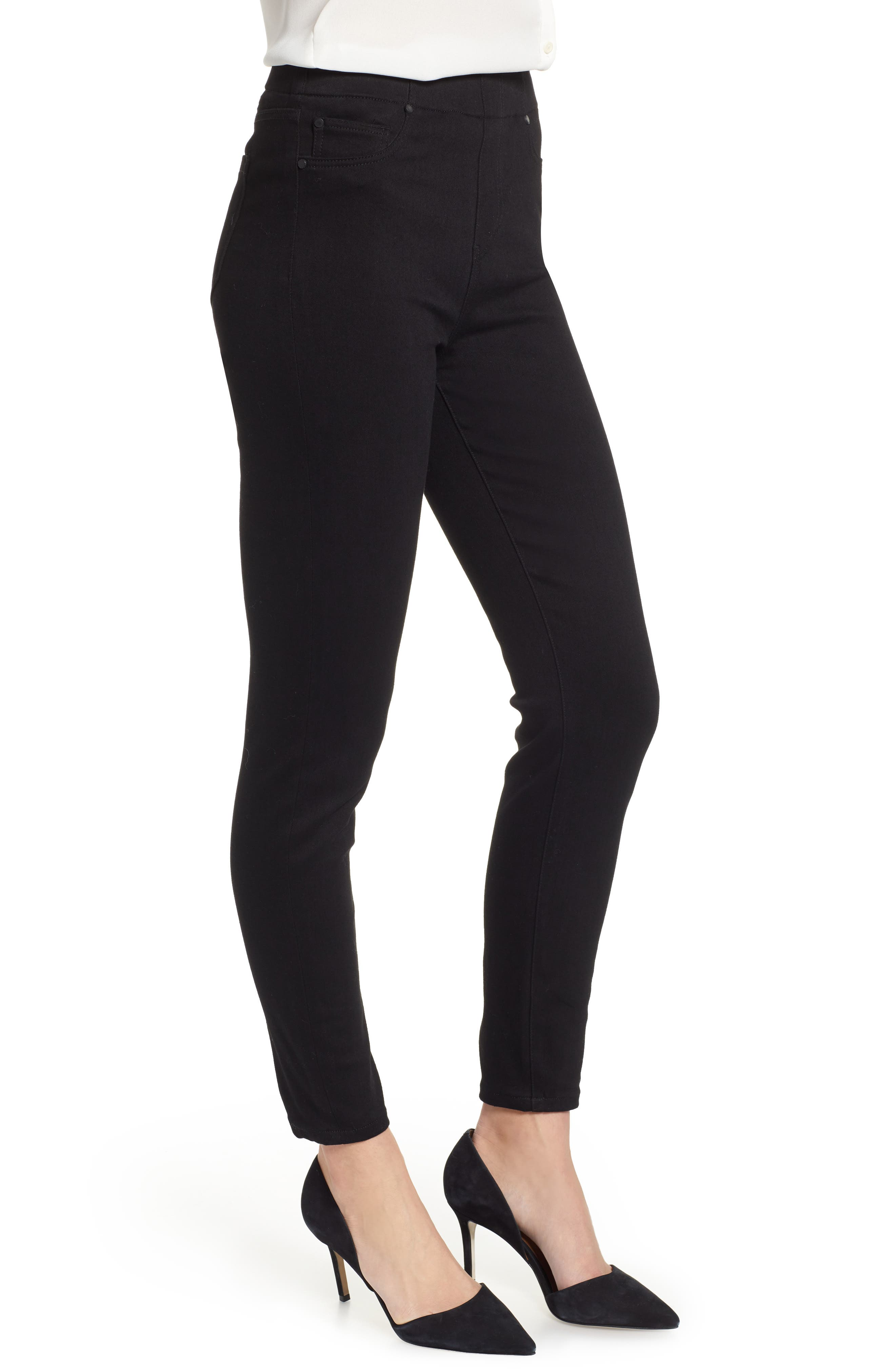 Chloe Pull-On Stretch Skinny Ankle Jeans,                             Alternate thumbnail 3, color,                             BLACK RINSE