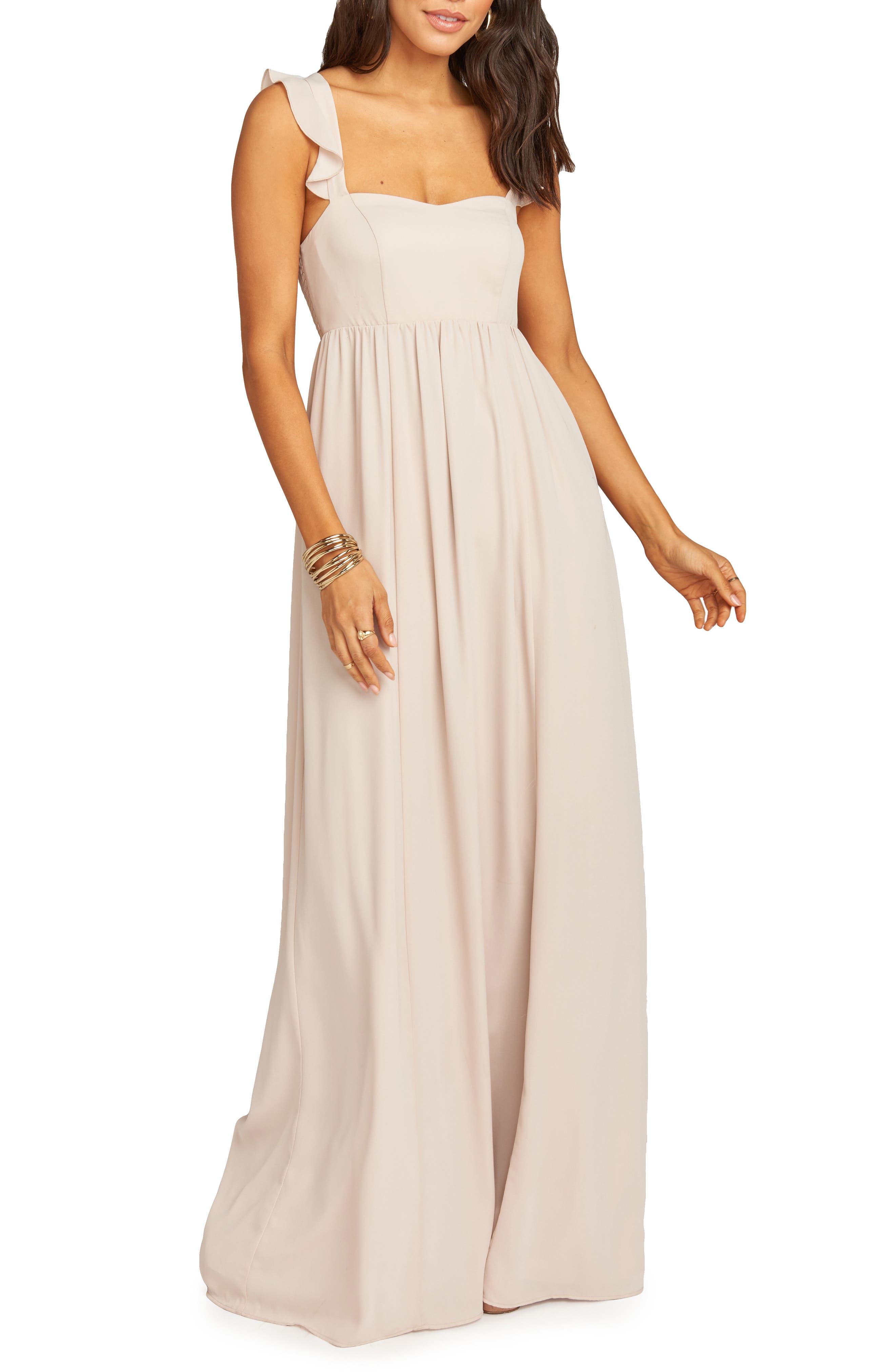 Show Me Your Mumu June Ruffle Strap Evening Dress, Beige