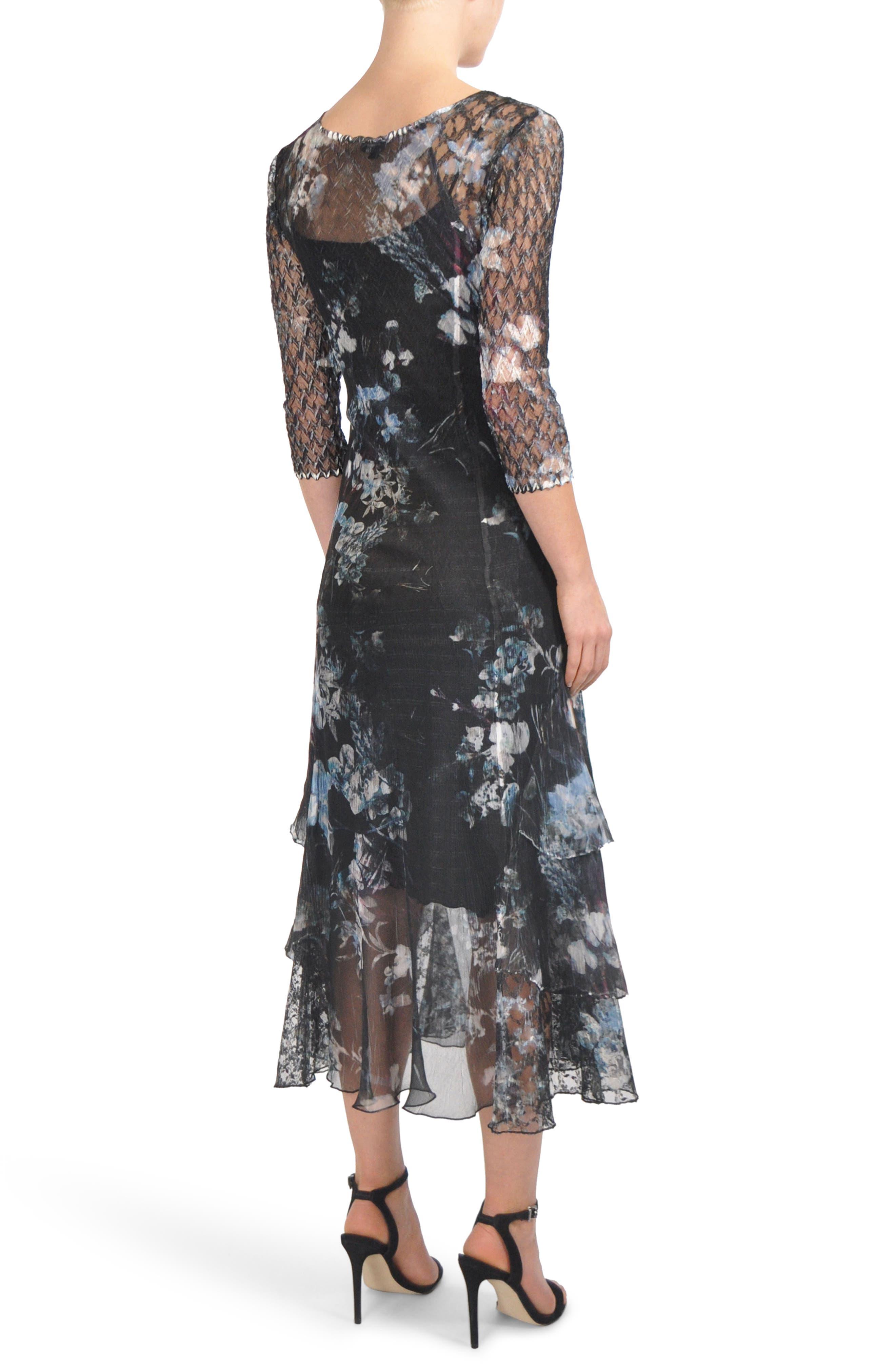 Floral Tiered Hem Chiffon Dress,                             Alternate thumbnail 2, color,                             001