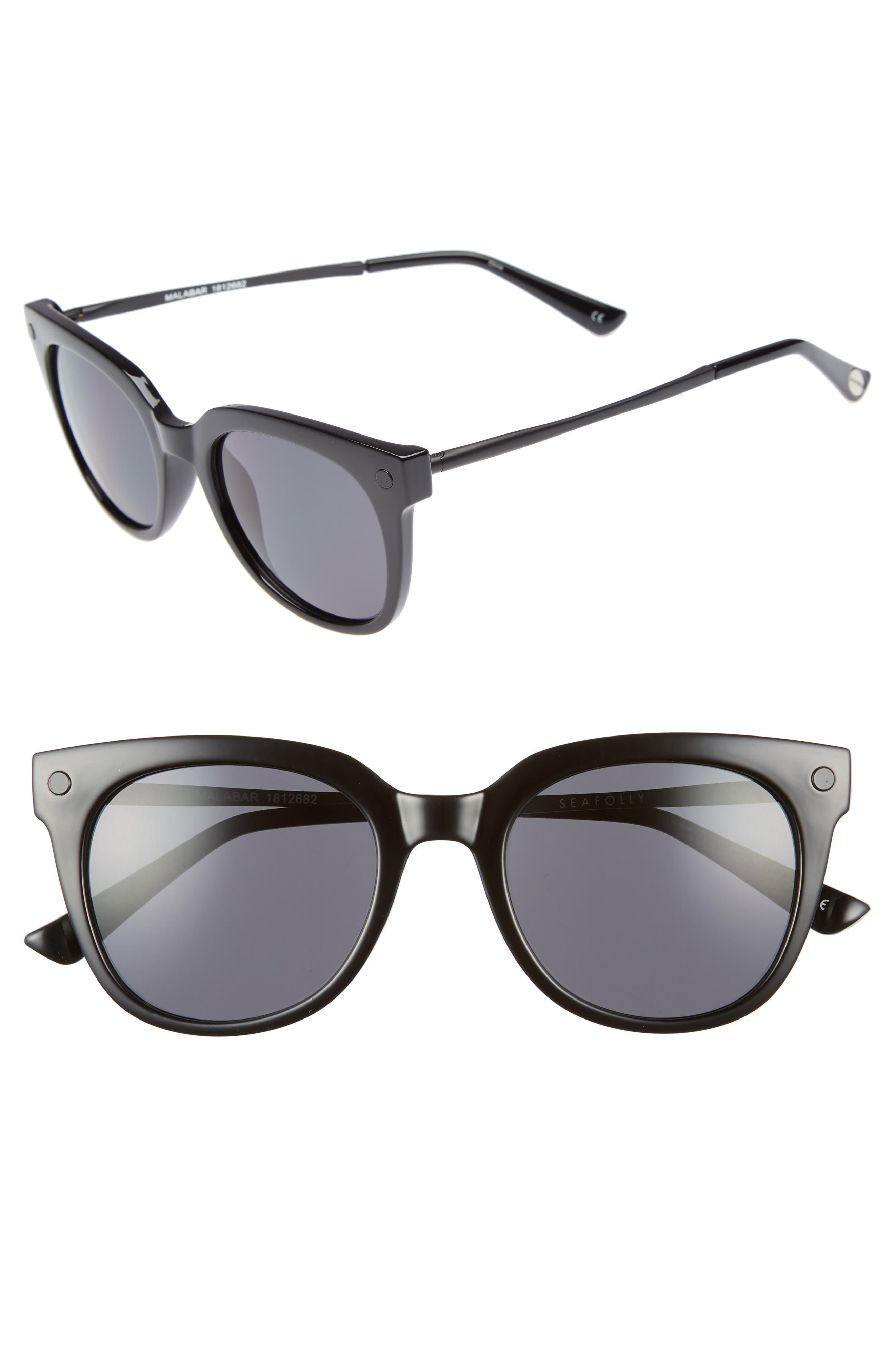 Malabar 52mm Sunglasses,                             Main thumbnail 1, color,                             BLACK