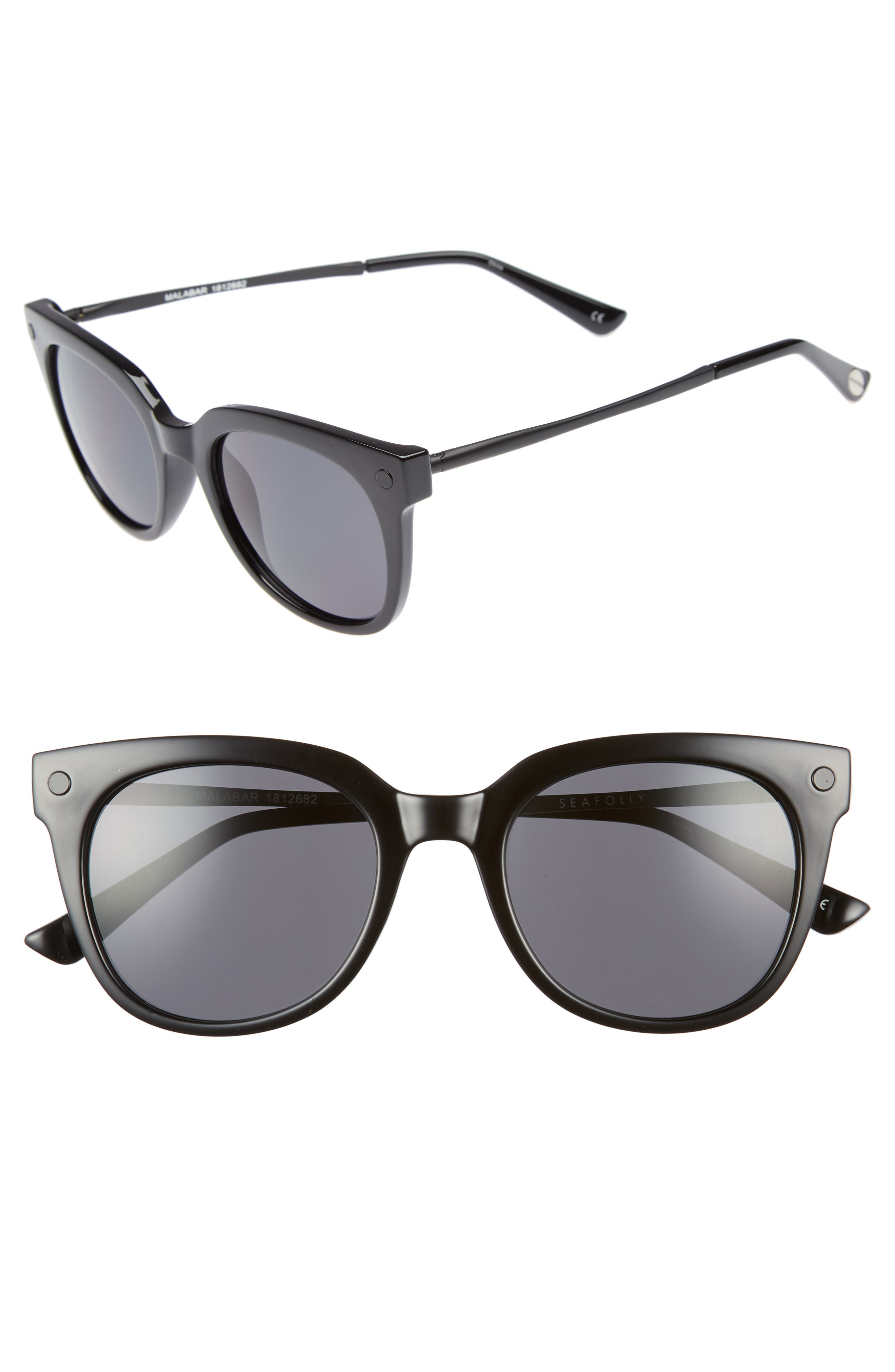 Malabar 52mm Sunglasses,                         Main,                         color, BLACK
