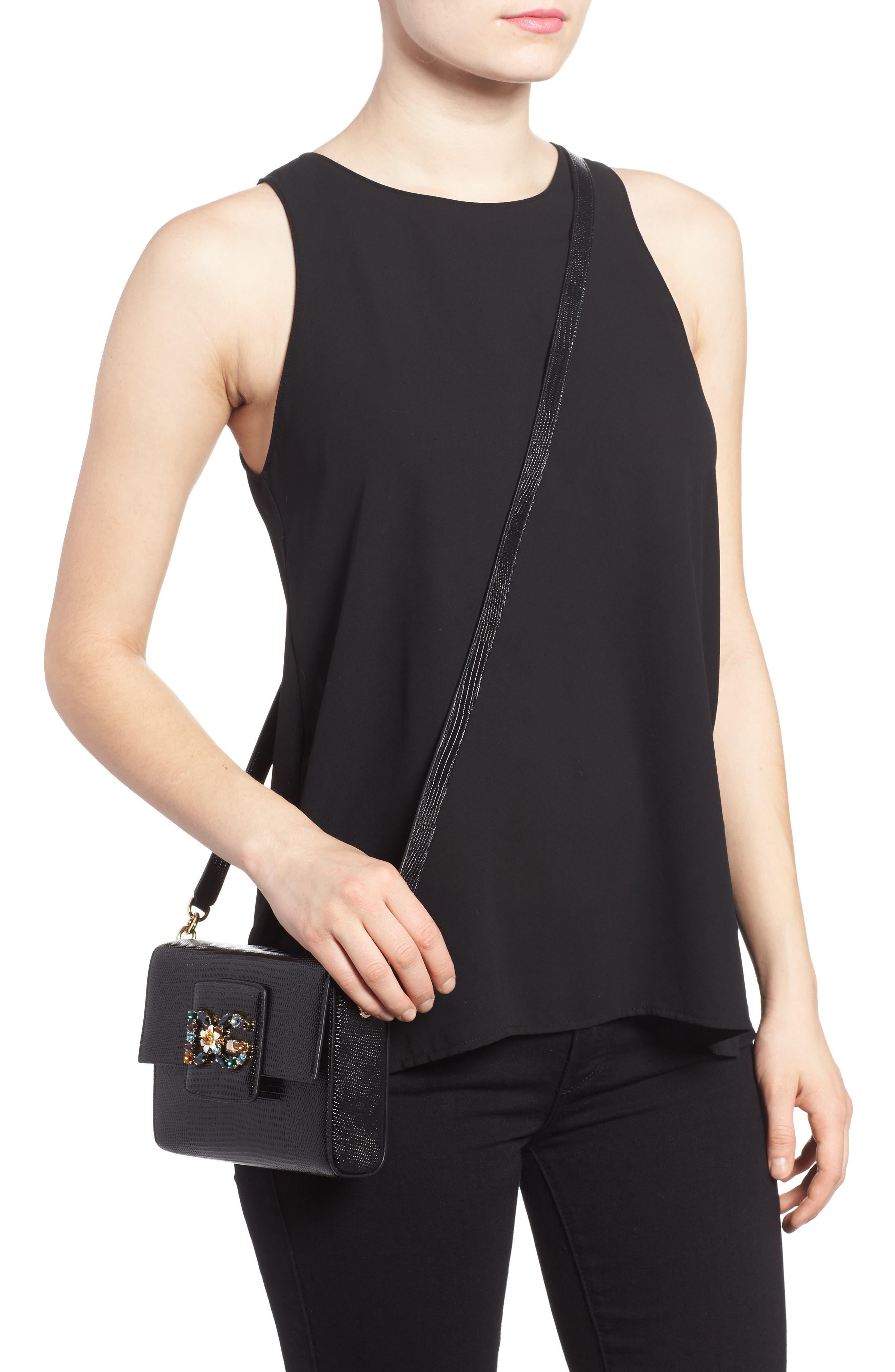 Millennial Reptile Embossed Leather Crossbody Bag,                             Alternate thumbnail 2, color,                             NERO