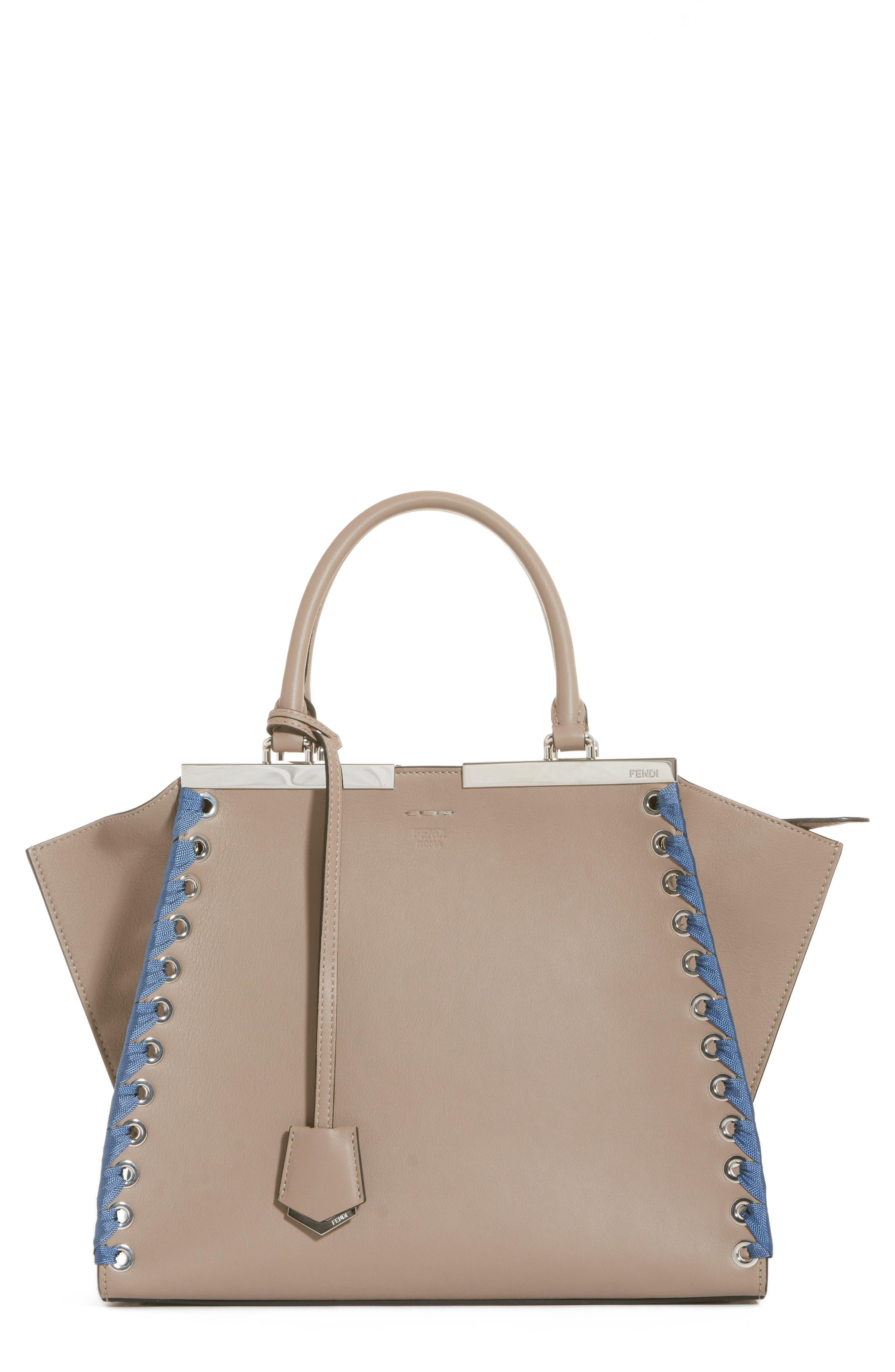 3Jours Calfskin Leather Shopper,                         Main,                         color, TORTORA/ CERULEO