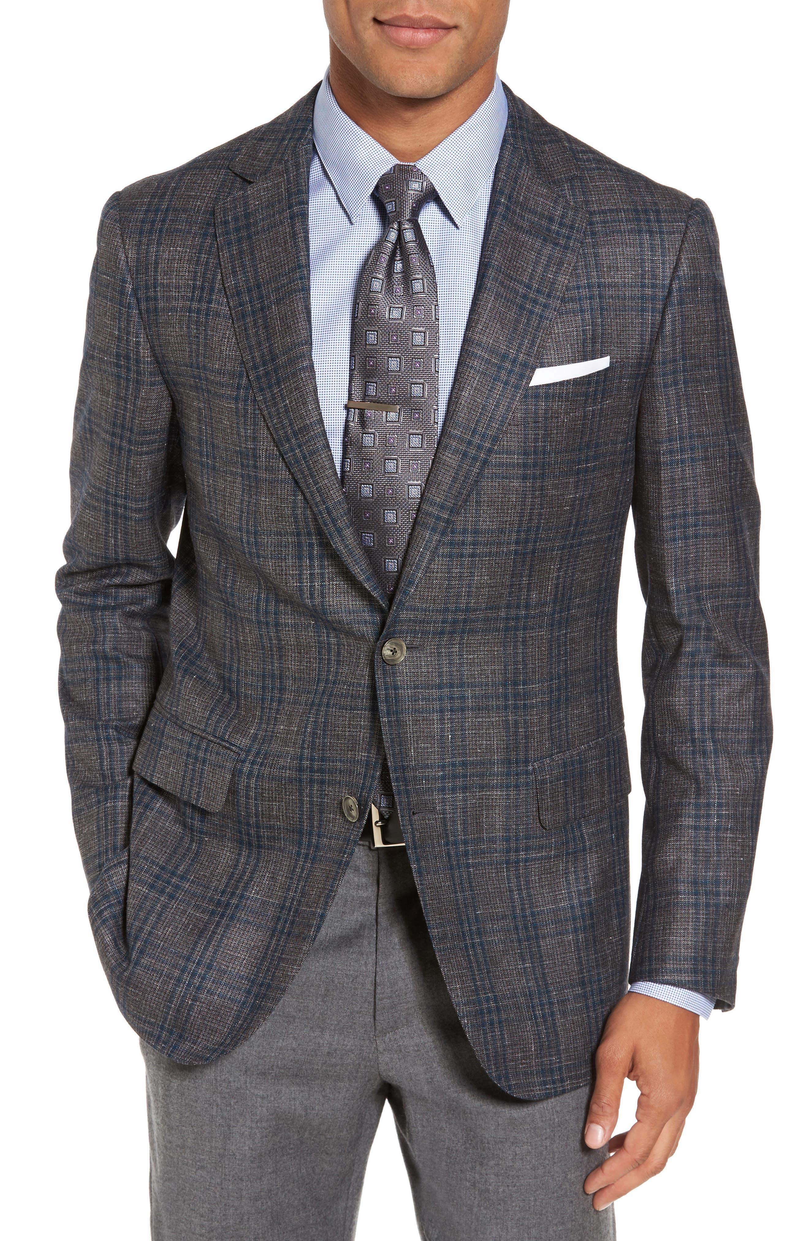 Classic Fit Plaid Wool Sport Coat,                         Main,                         color, 020