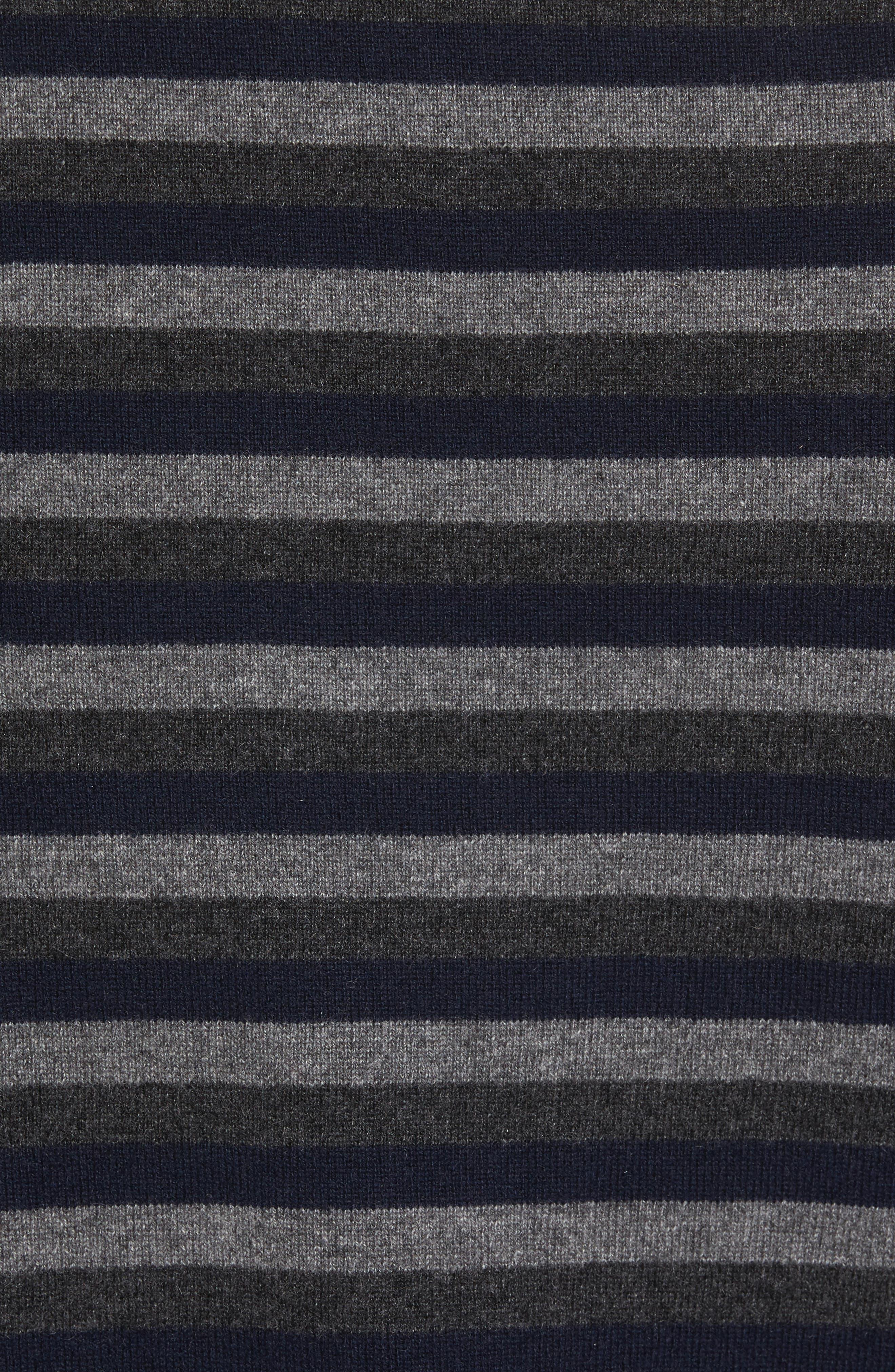 Stripe V-Neck Cashmere Sweater,                             Alternate thumbnail 5, color,                             406